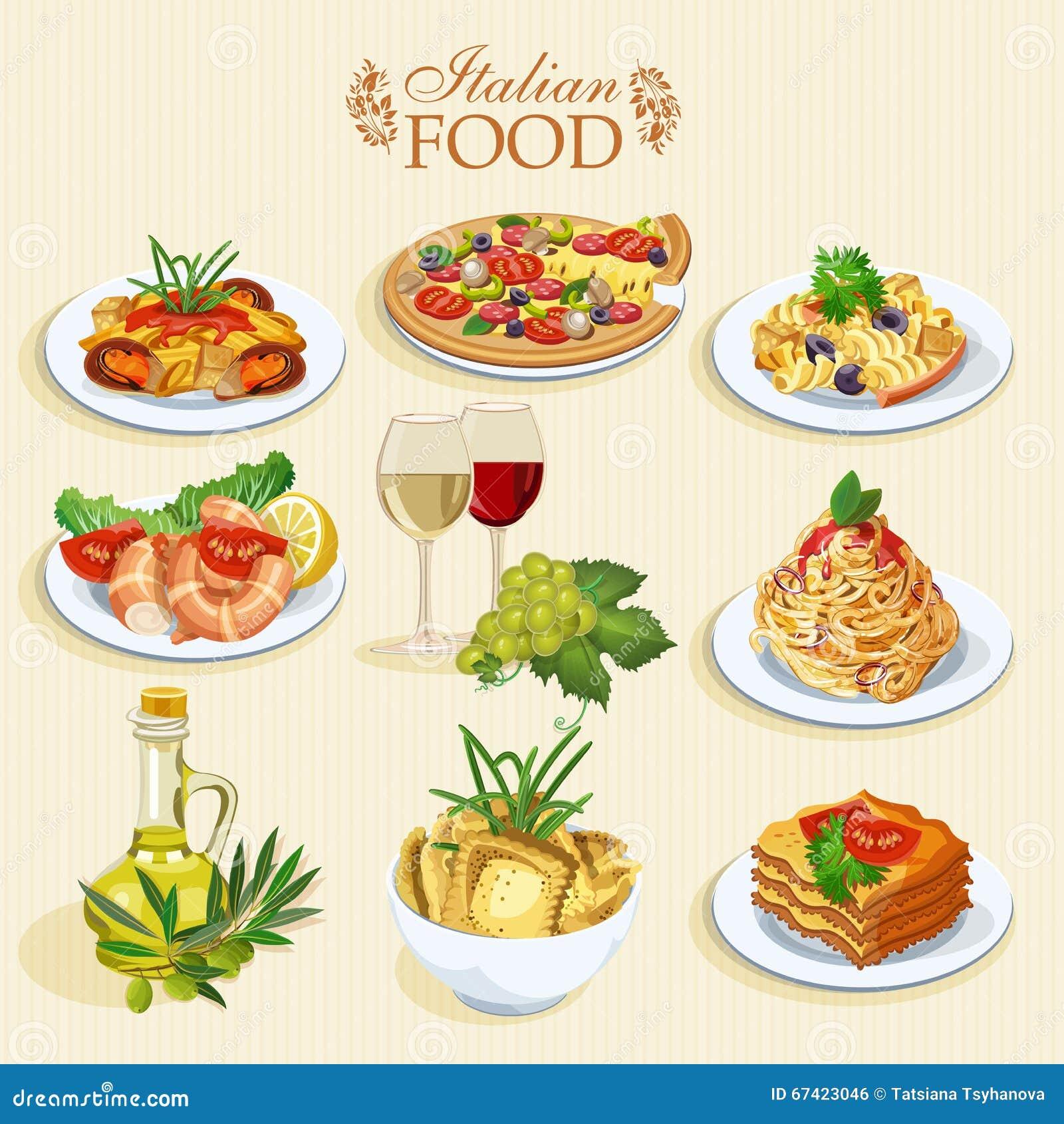 set nahrungsmittelikonen italienische küche vektor abbildung