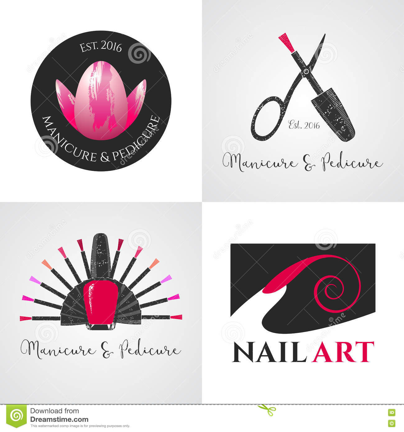 Set Of Nails Salon Nails Art Vector Logo Icon Symbol Emblem