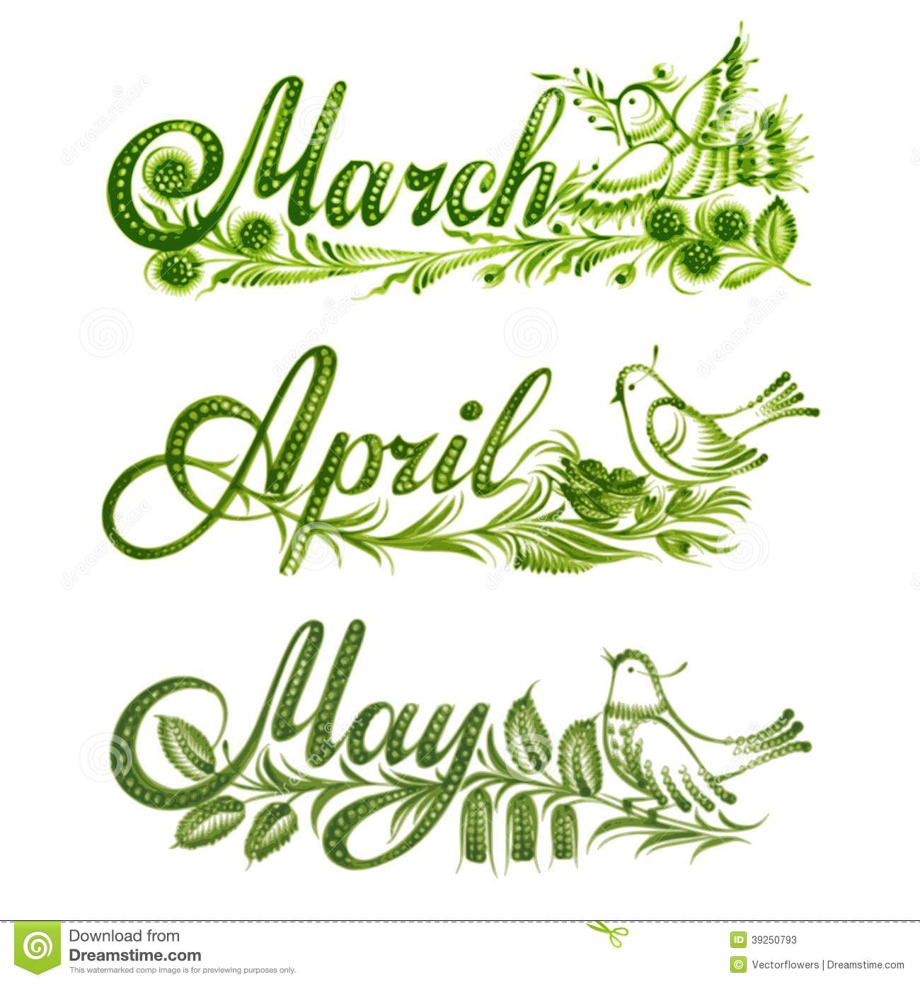 Set Name Of The Month Spring Stock Vector - Illustration ...