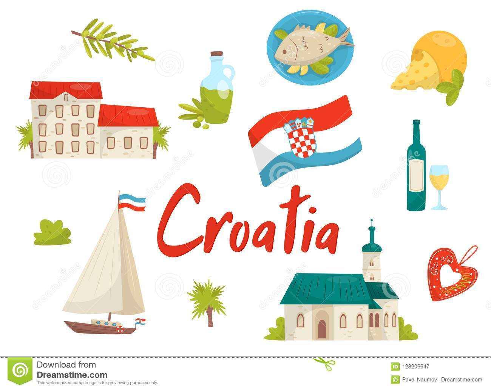 Flat Vector Set Of National Cultural Symbols Of Croatia Old