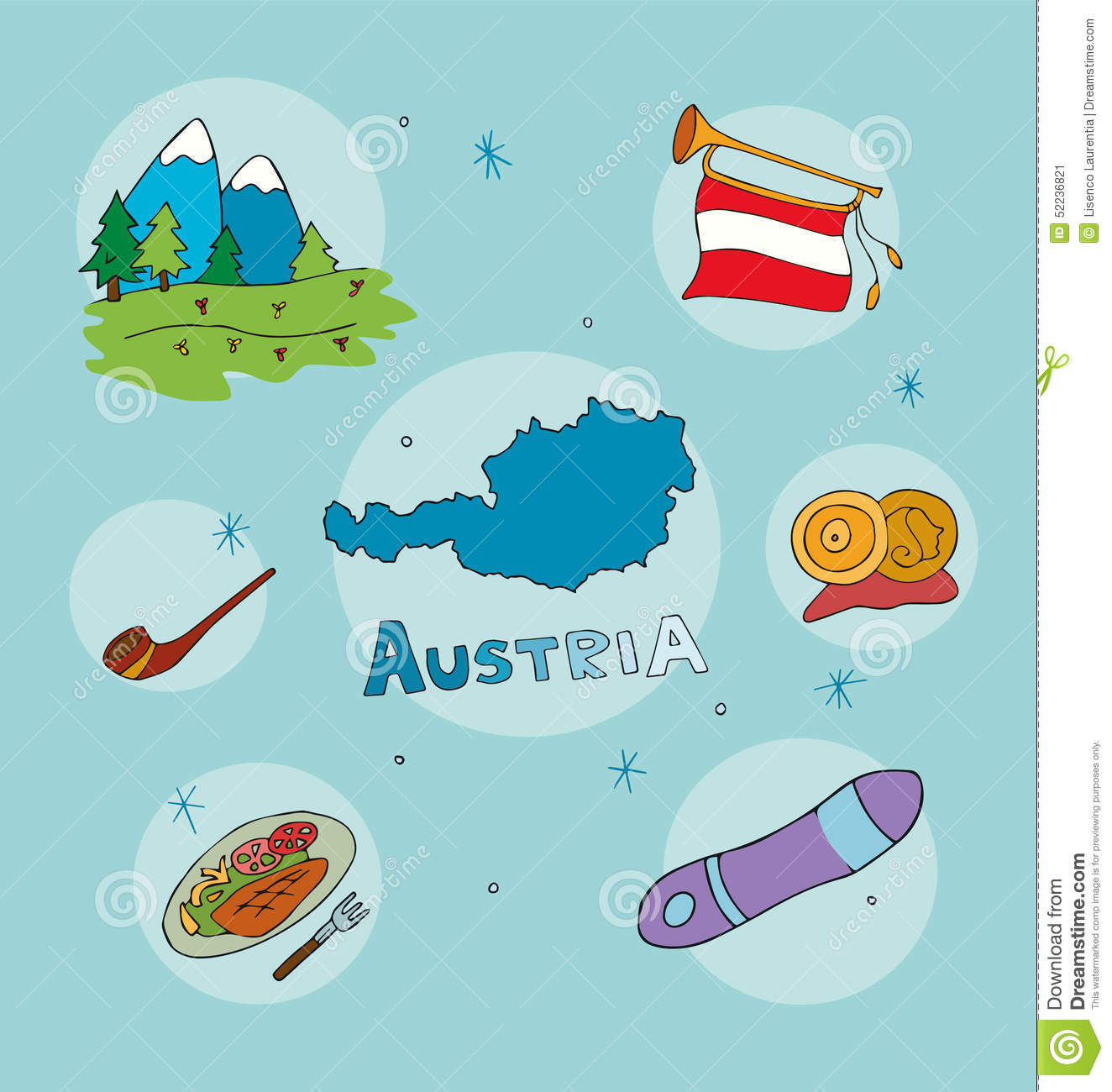 The Set Of National Profile Of The Austria Stock Vector