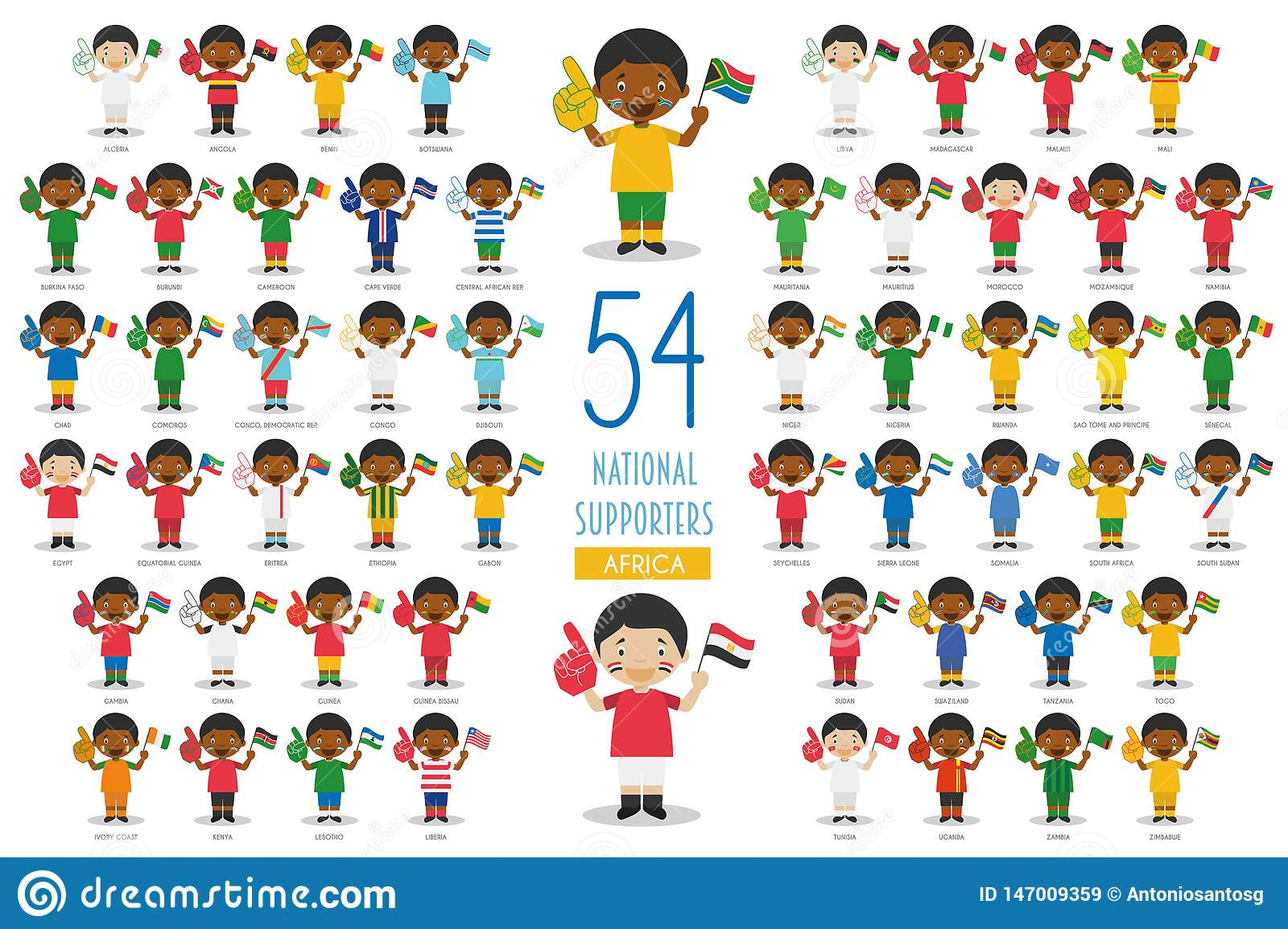 Set of 54 national sport team fans from African countries Vector Illustration