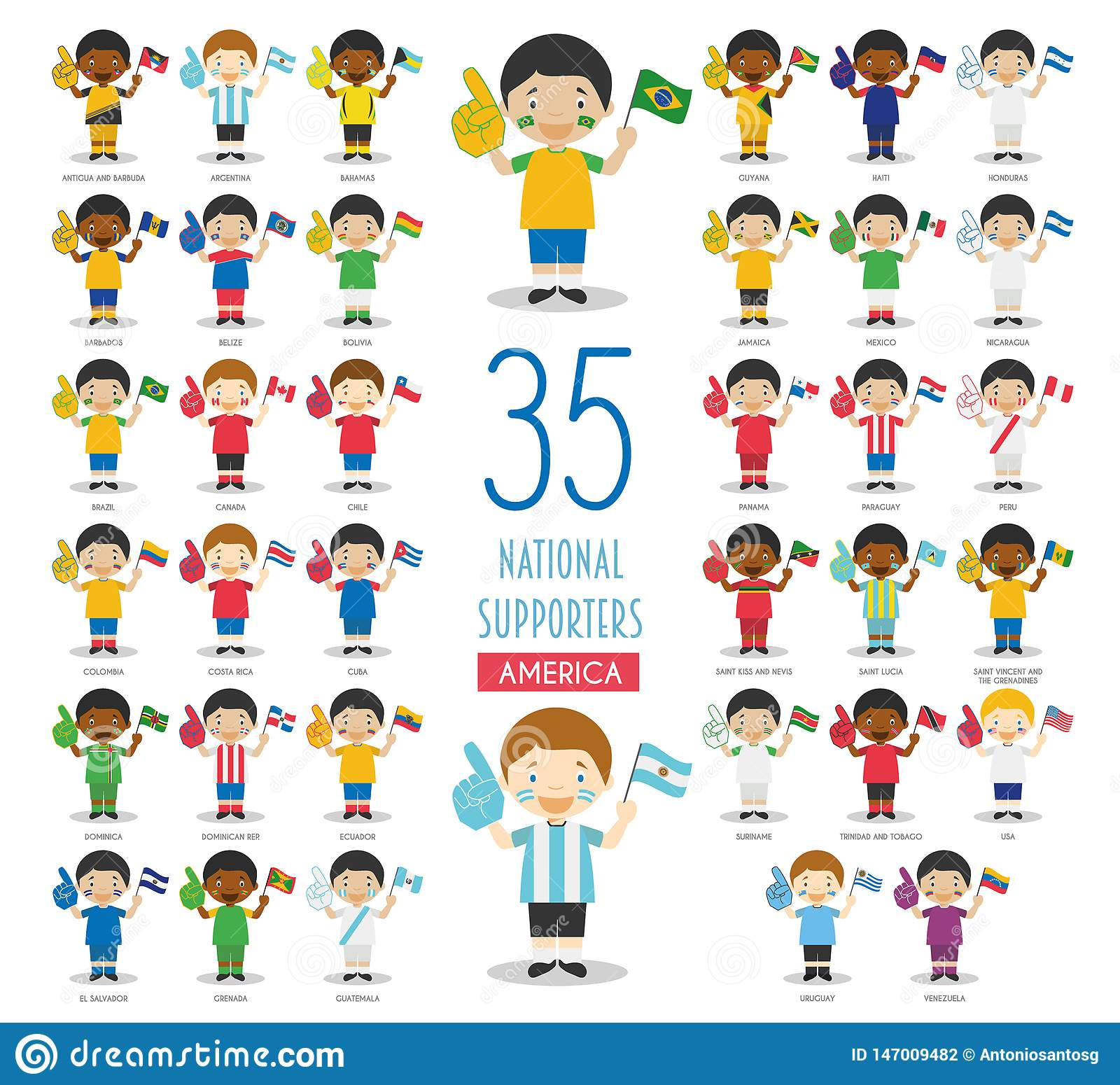 Set of 35 national sport team fans from American countries Vector Illustration