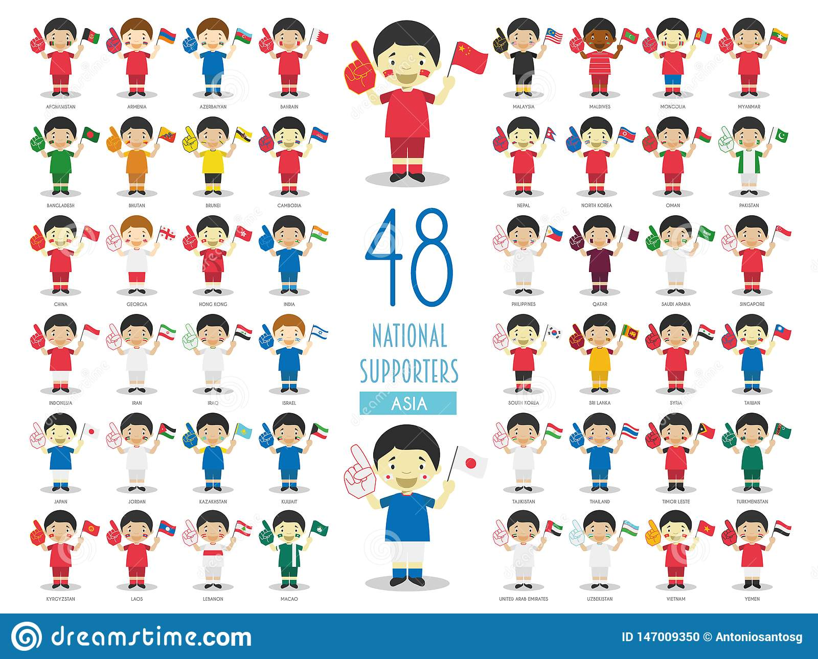 Set of 48 national sport team fans from Asian countries Vector Illustration