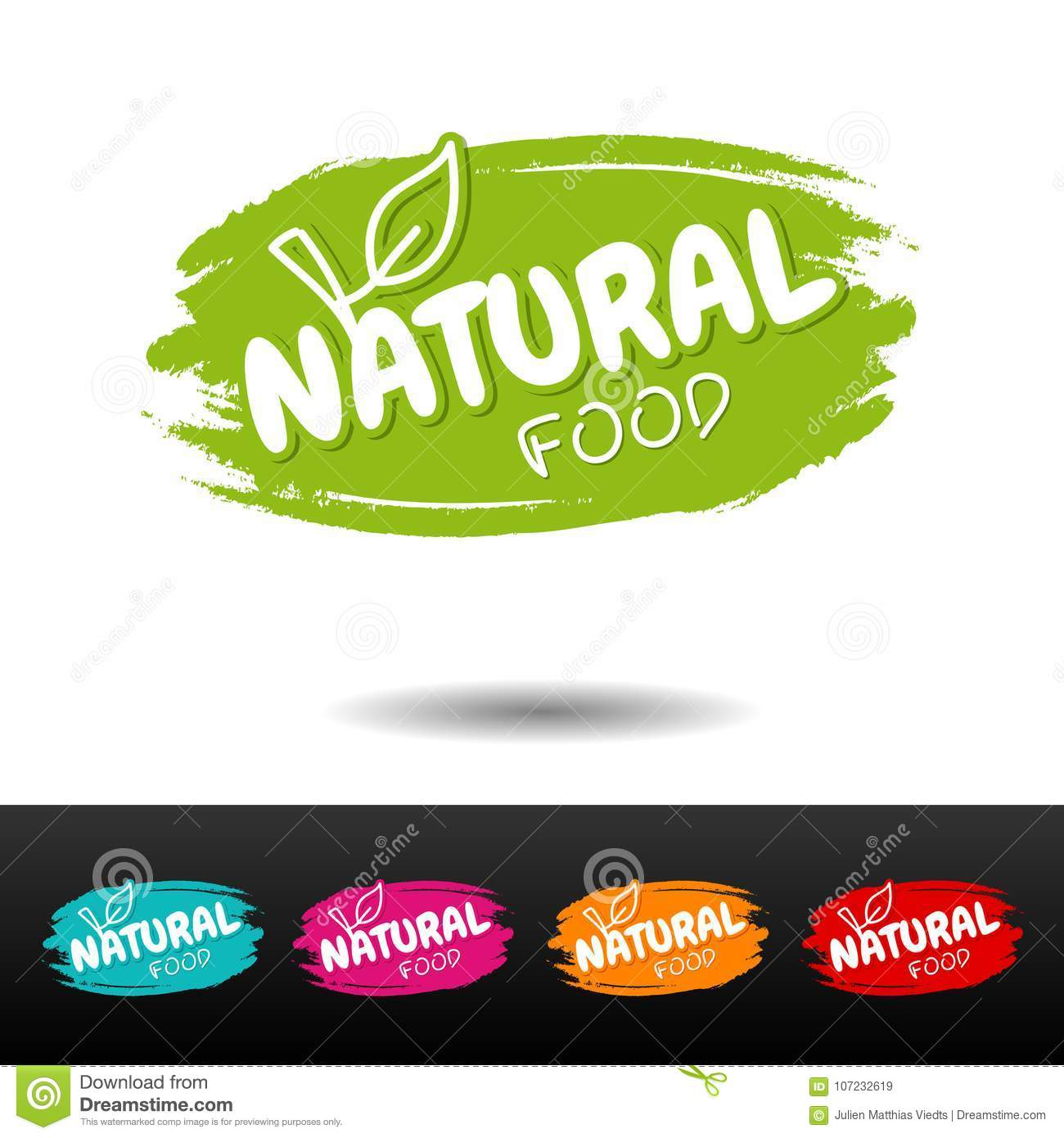 Set of Natural food badges. Vector hand drawn labels.