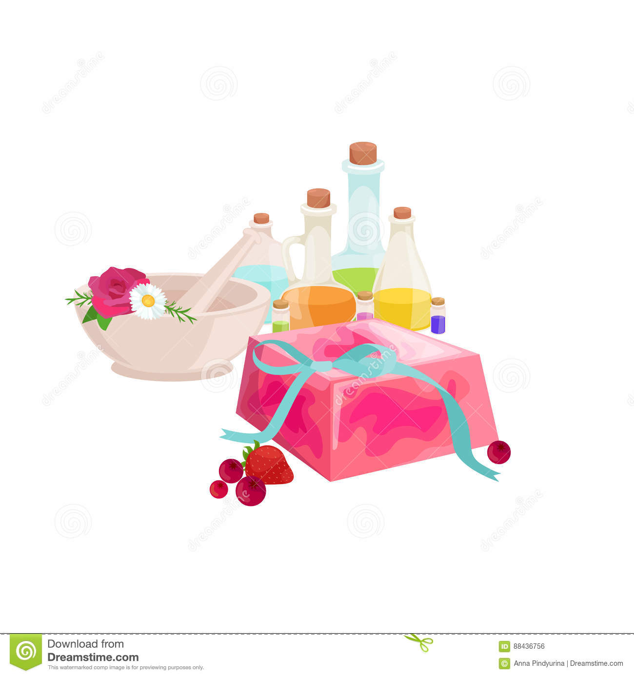 Set of natural organic hand made soap with olives vector illustration, body beauty care concept, nature cosmetics aroma
