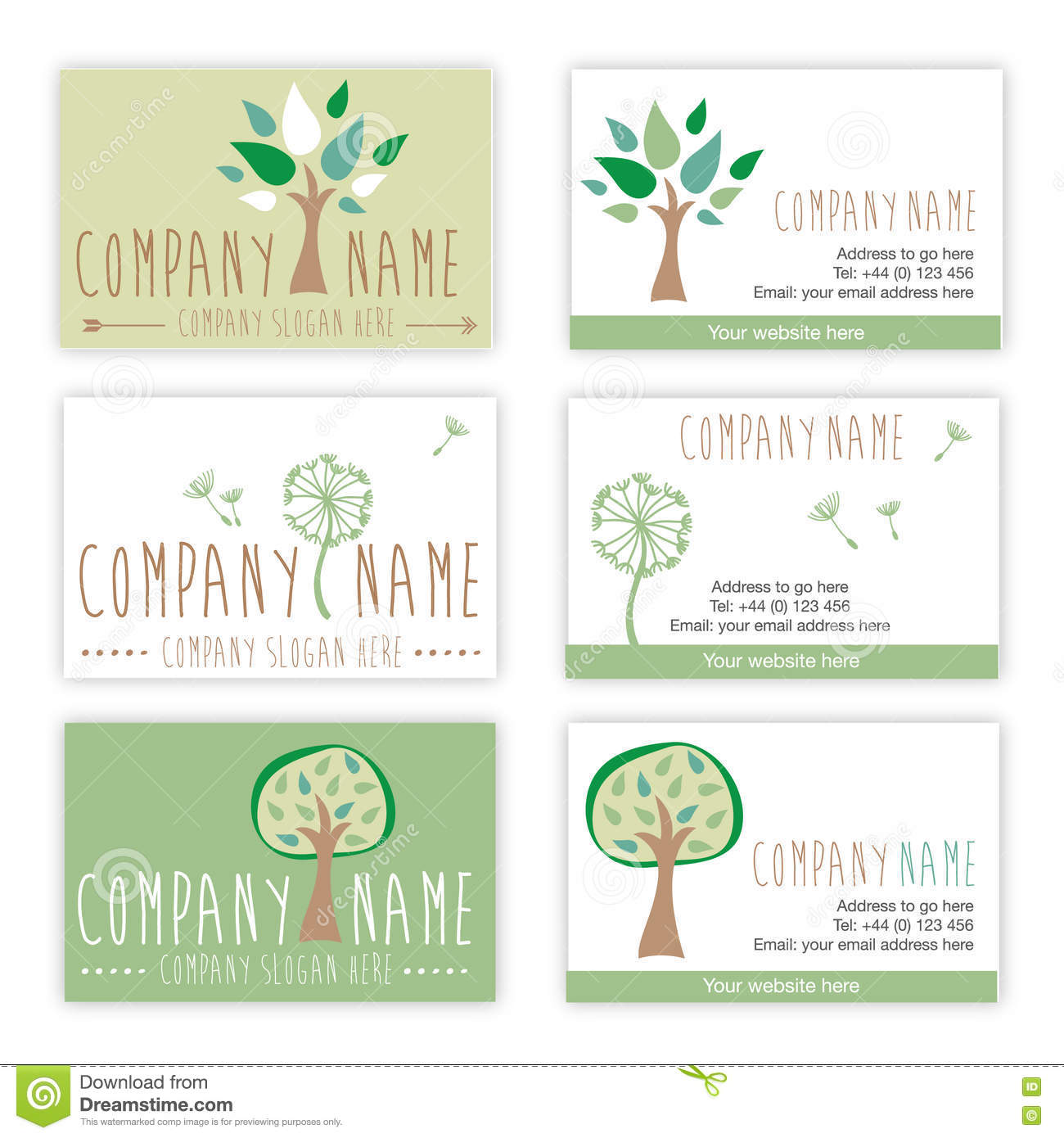 Set of nature and gardening business cards stock for Gardening business cards