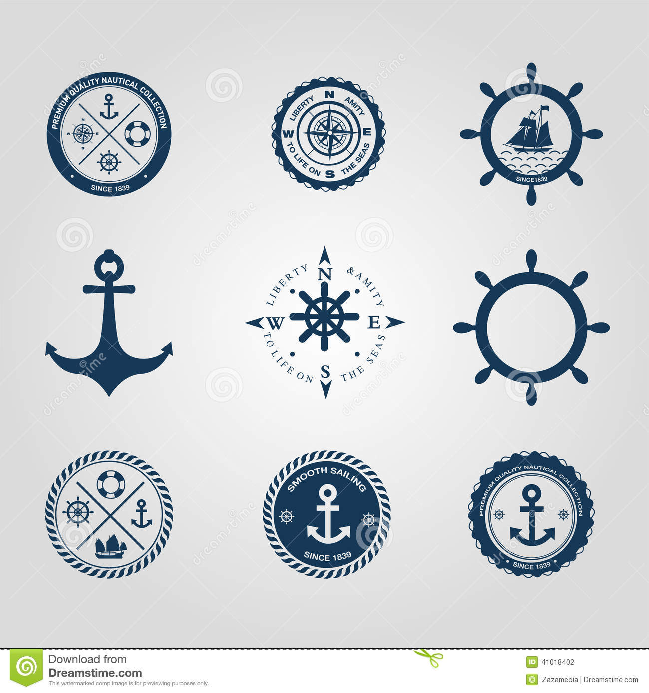 Stock Photography: Set of nautical labels icons logo symbol and design ...