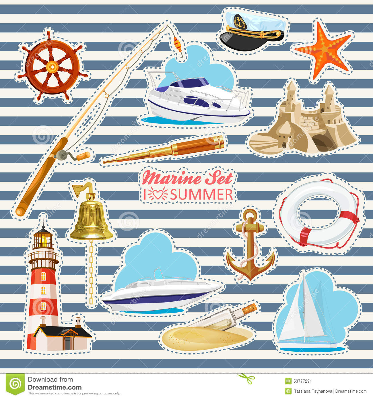 Key Elements Of Nautical Style: Set Of Nautical Or Naval Elements Stock Vector