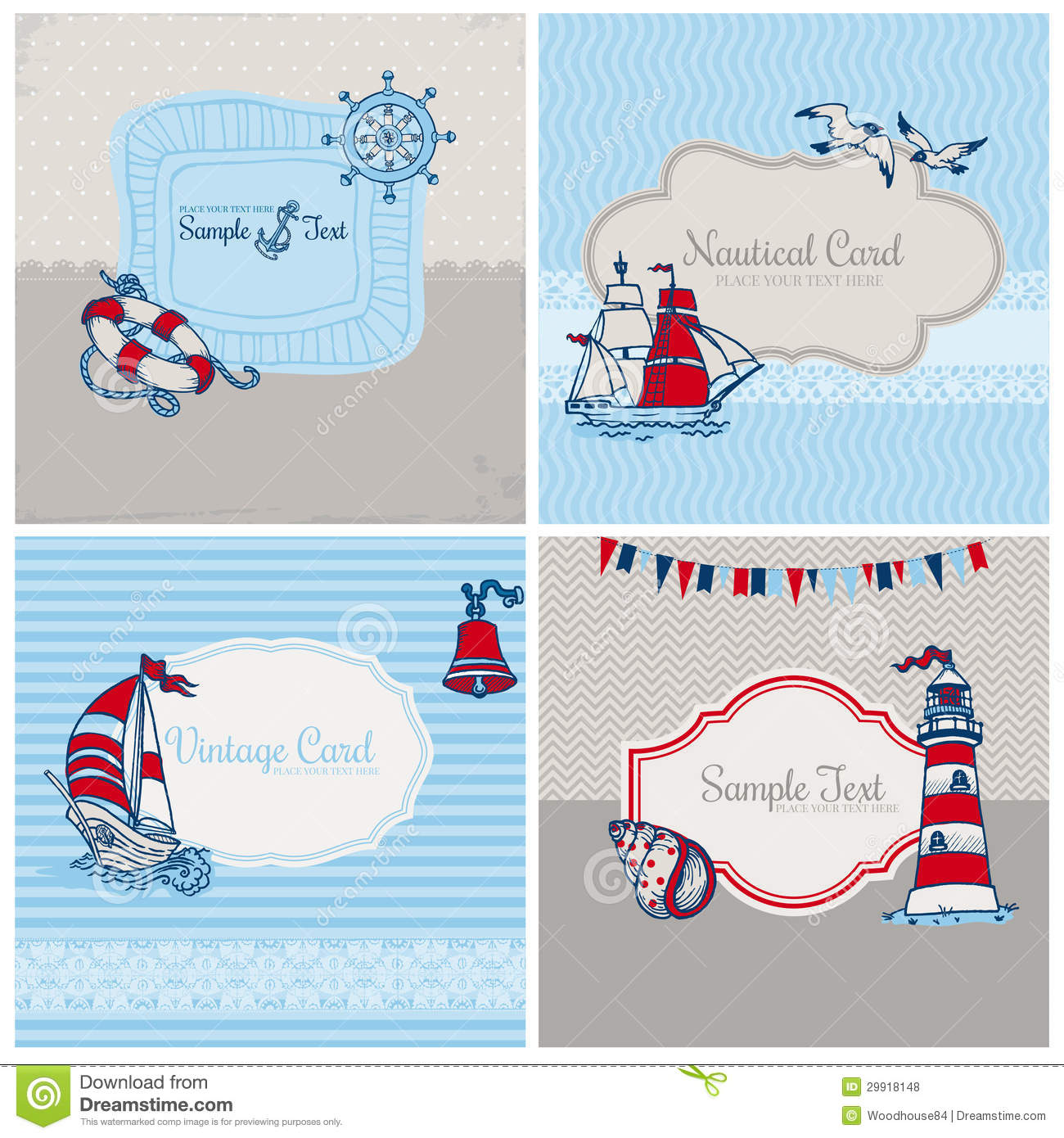 Set Of Nautical Sea Cards Royalty Free Stock Photos - Image: 29918148