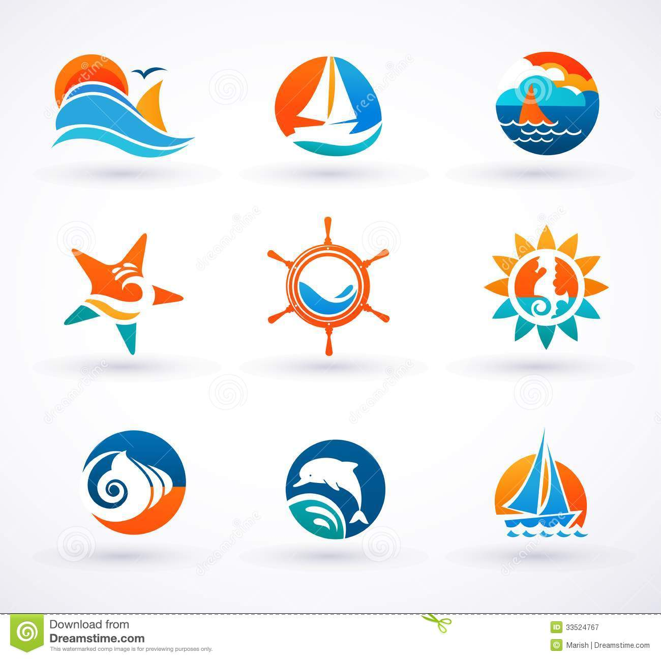 set of nautical sea icons and symbols stock vector