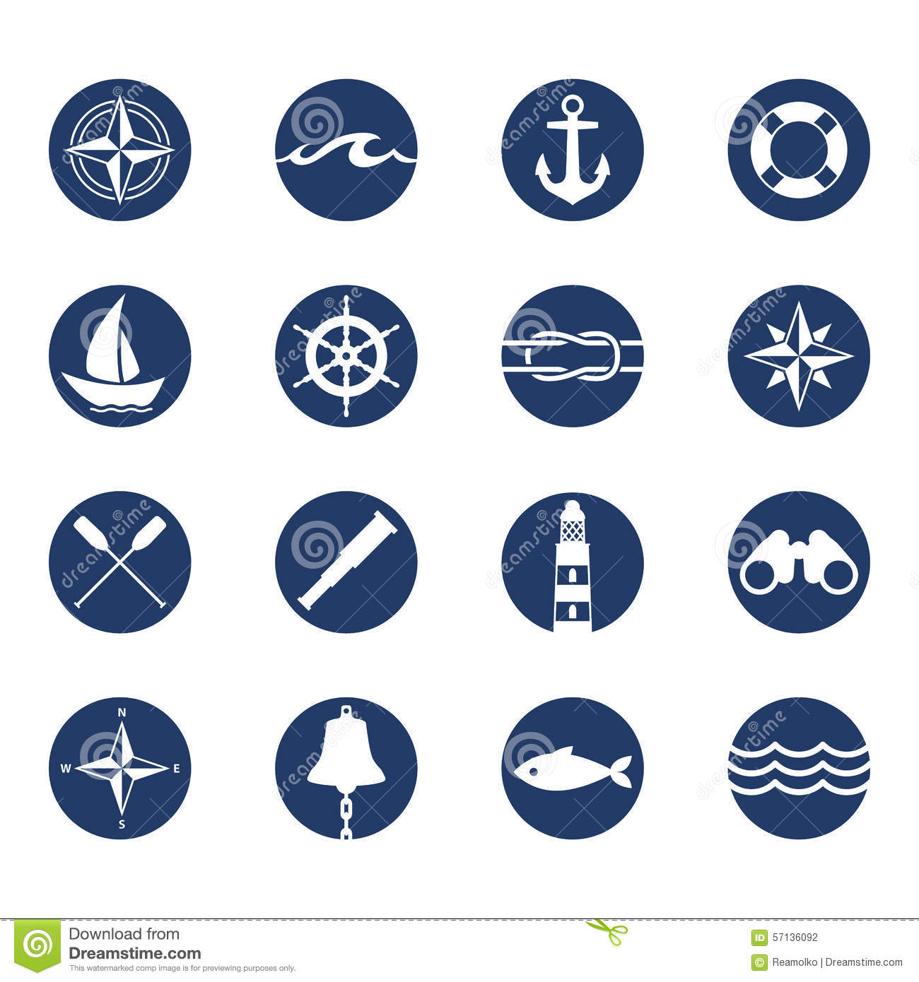 Set of nautical sea ocean sailing icons stock vector for Fish symbol meaning