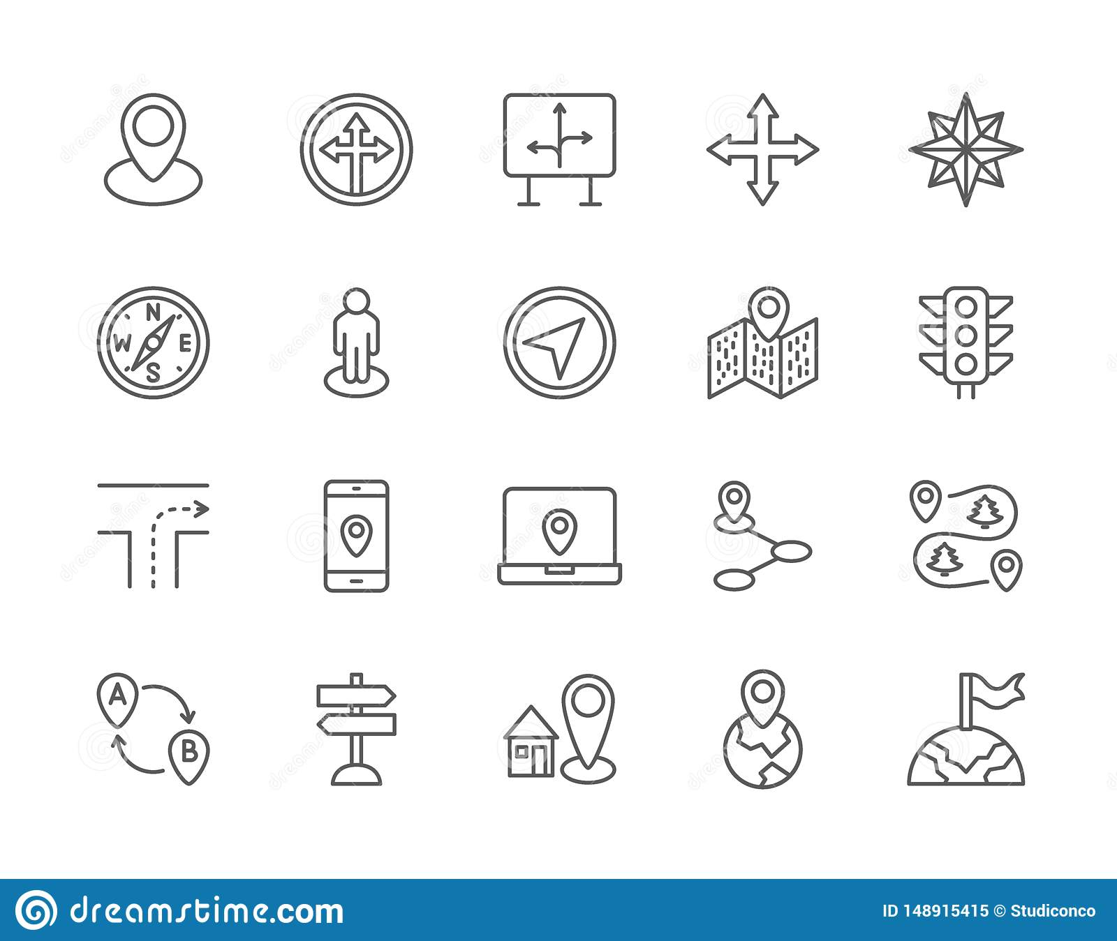 Set of Navigation Line Icons. Compass, Location Pin, GPS Navigation and more.