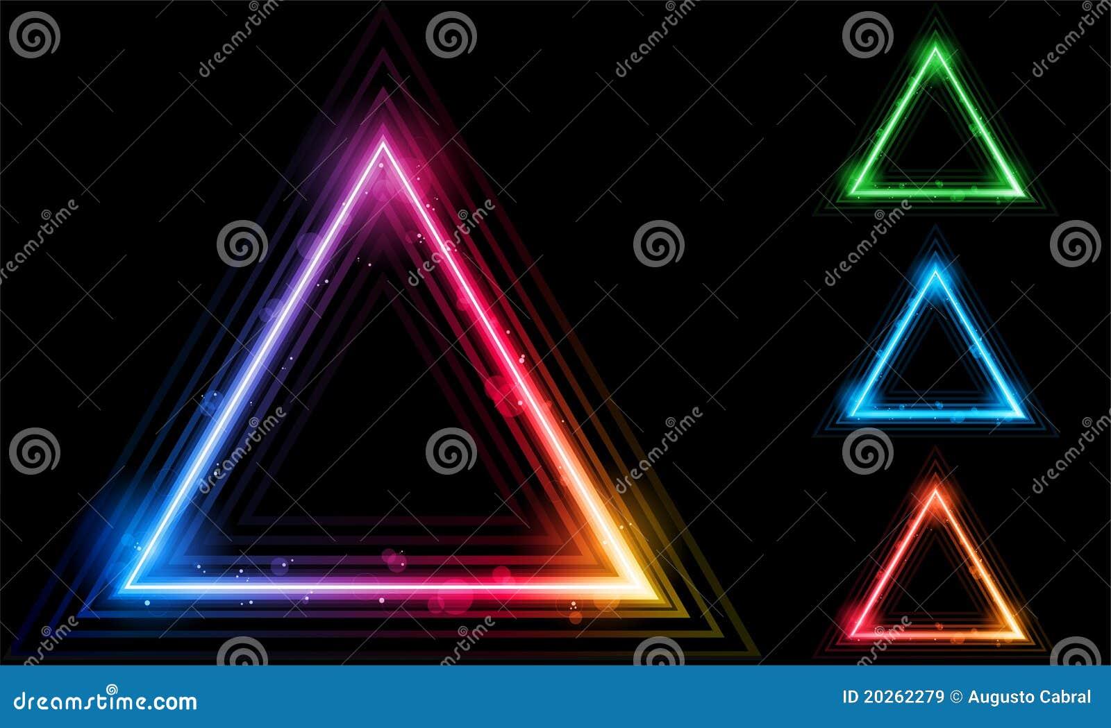 set of neon laser triangle border stock vector