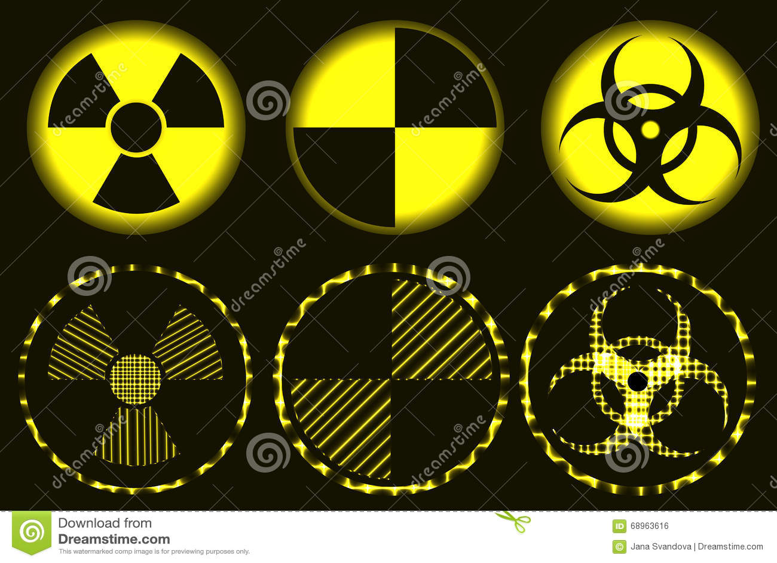 Set Of Neon Nuclear Hazard Quarantine And Biohazard Symbols Stock