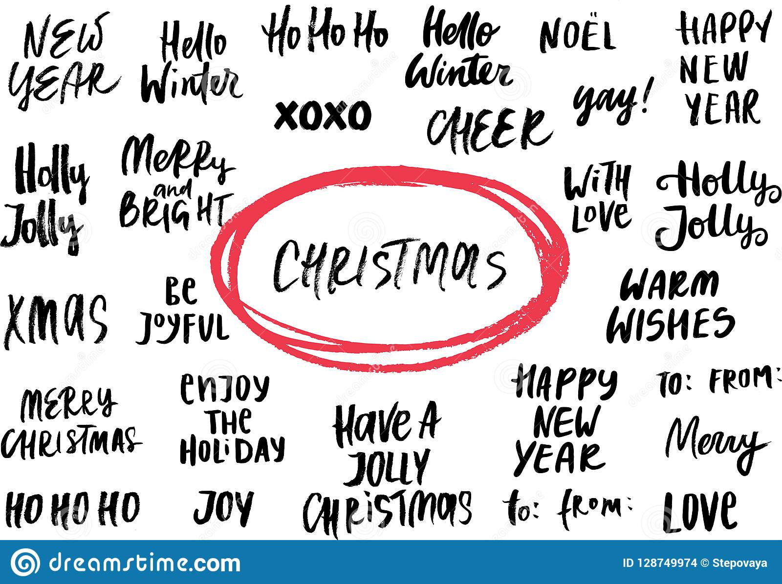 Christmas Expressions.Set Of New Year And Christmas Phrases And Words Collection