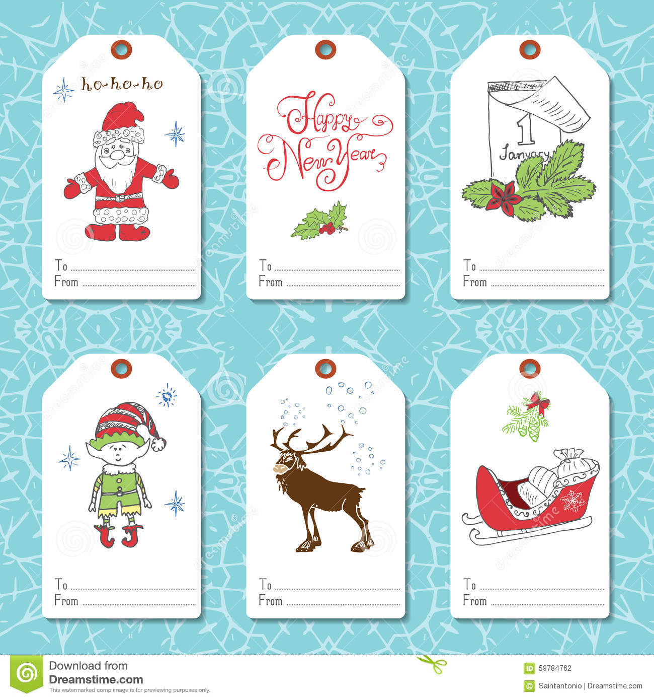 set of new year gift tags vector template hand drawn sketch elements with lettering set