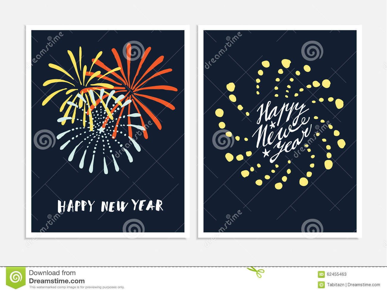Set of new year greeting cards invitations with hand drawn set of new year greeting cards invitations with hand drawn fireworks m4hsunfo Image collections