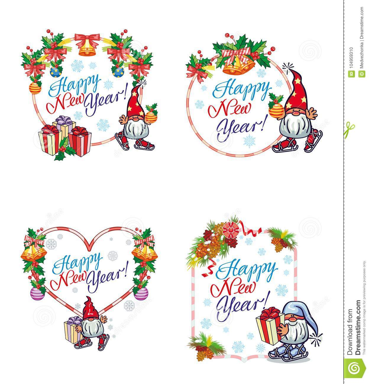 set of new year labels with funny gnomes and greeting text happy new year