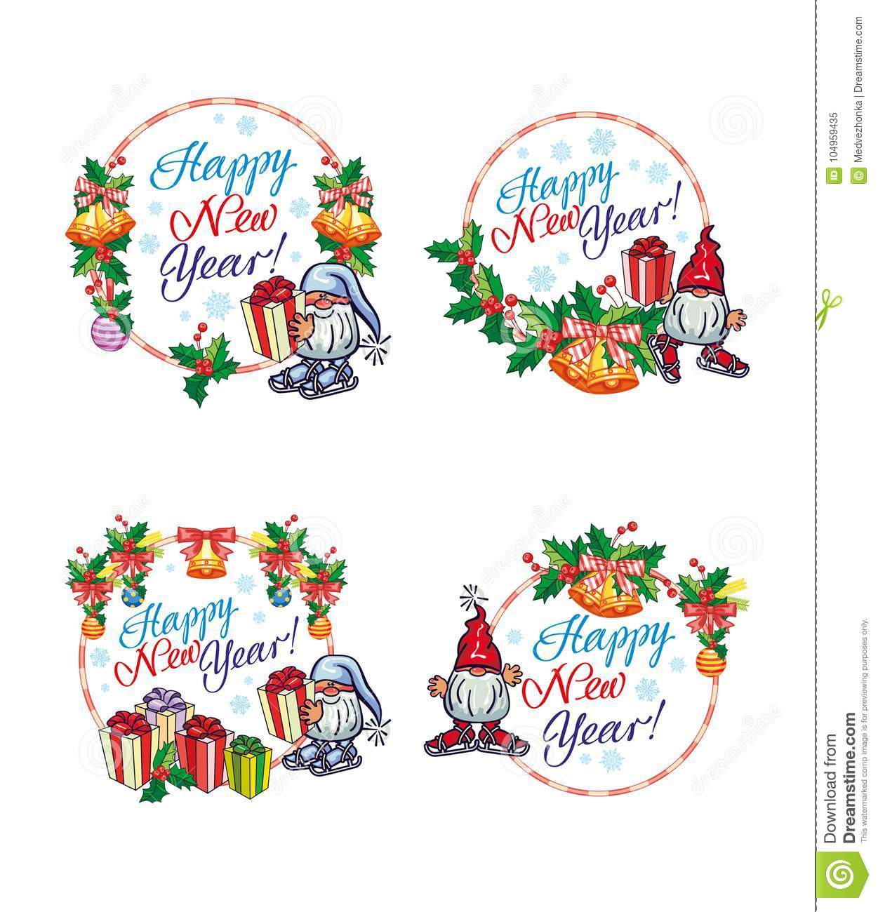 Set Of New Year Labels With Funny Gnomes And Greeting Text `Happy ...
