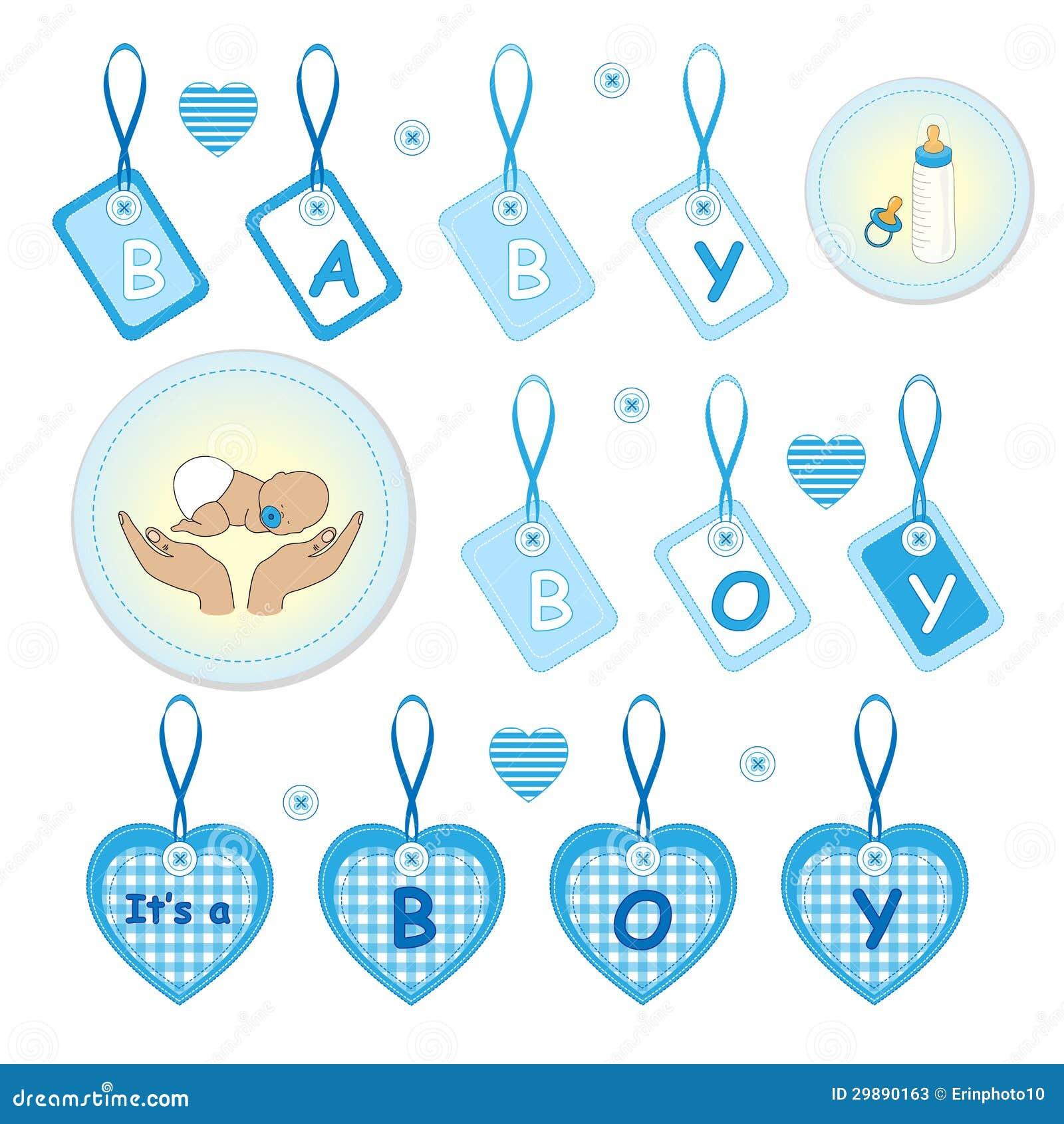 Newborn Baby Boy Design Elements Stock Vector - Image ...