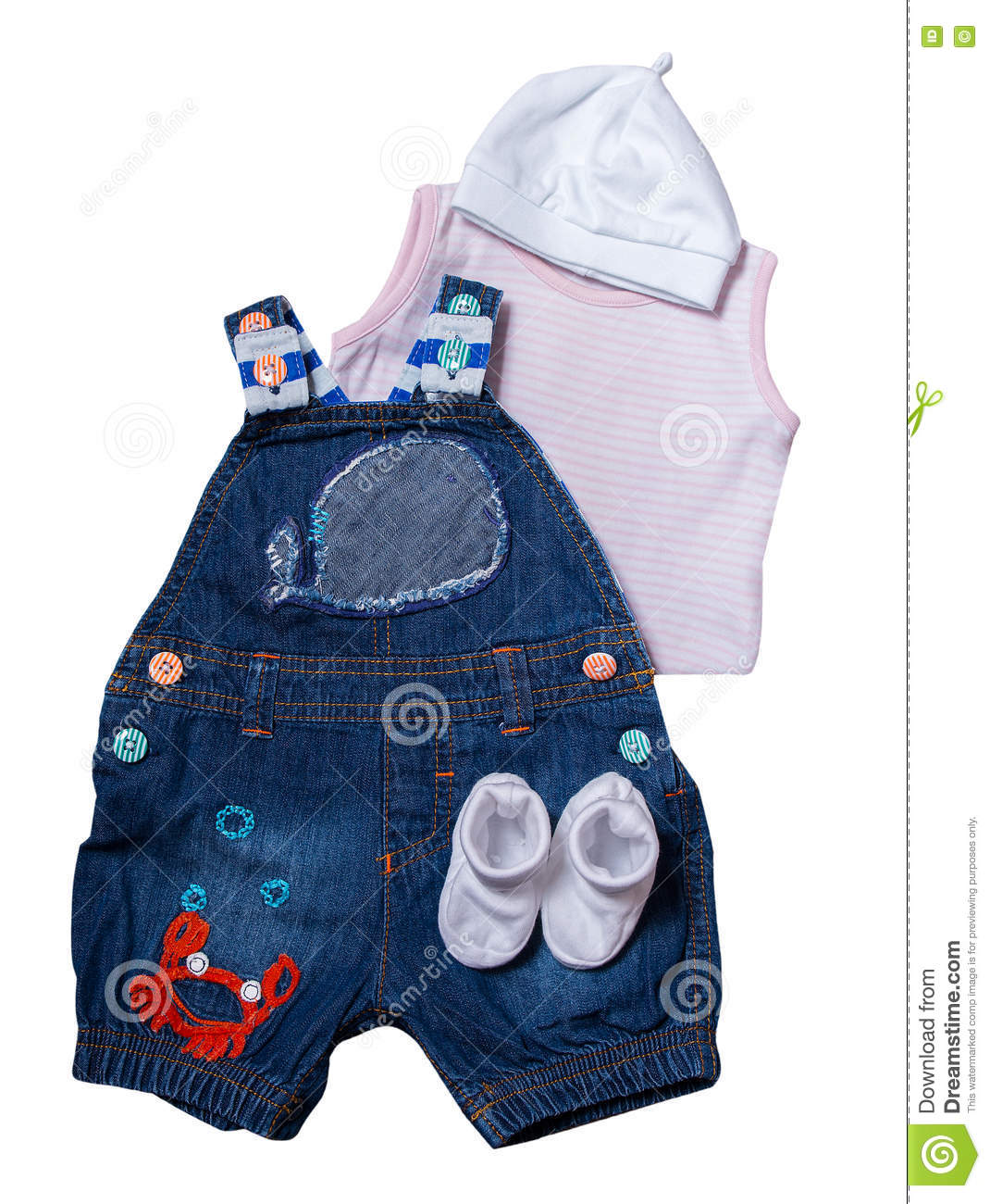 Set Newborn Baby Clothes Marine Style Stock Image