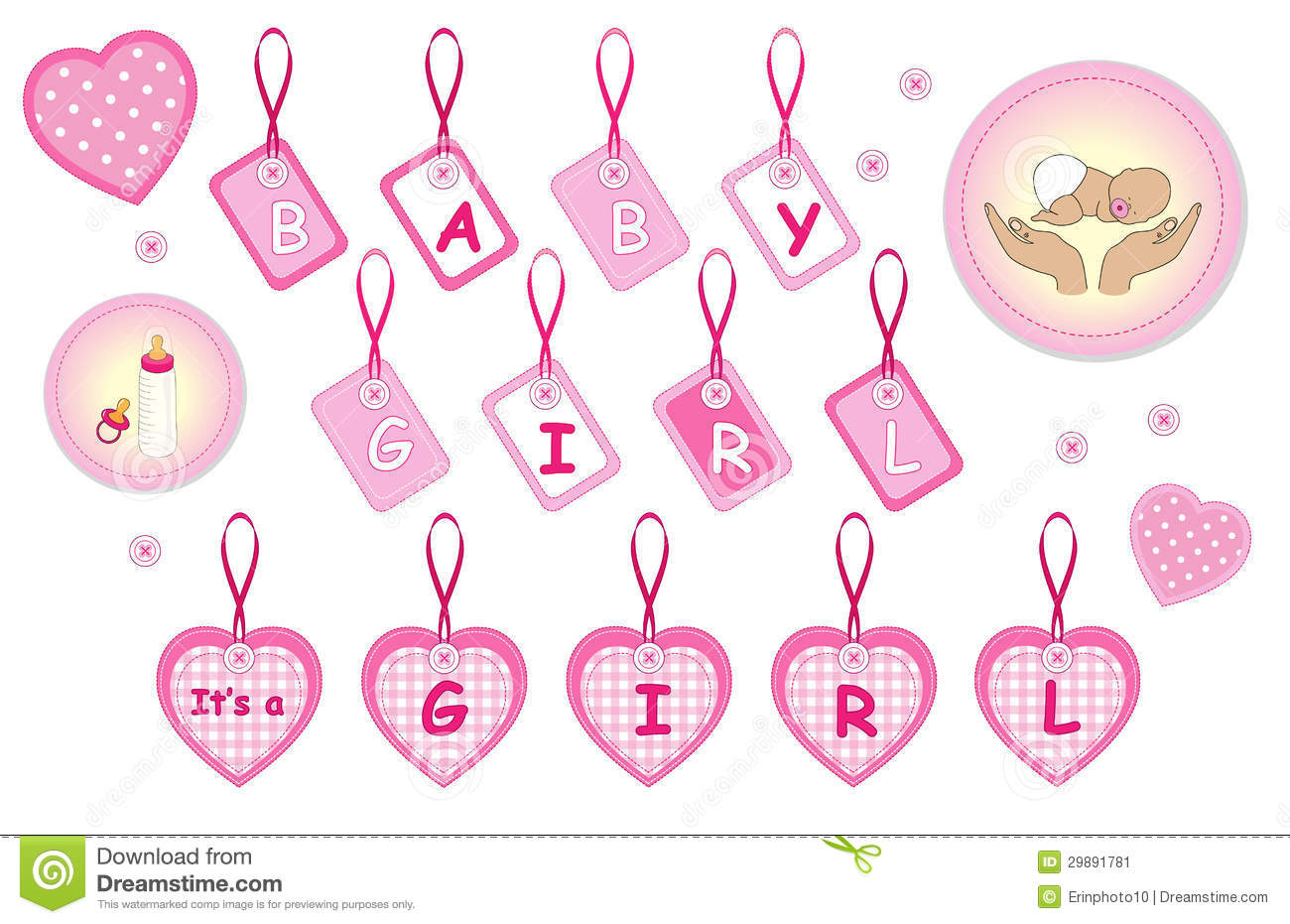 baby girl design as labels stickers its girl elements baby shower