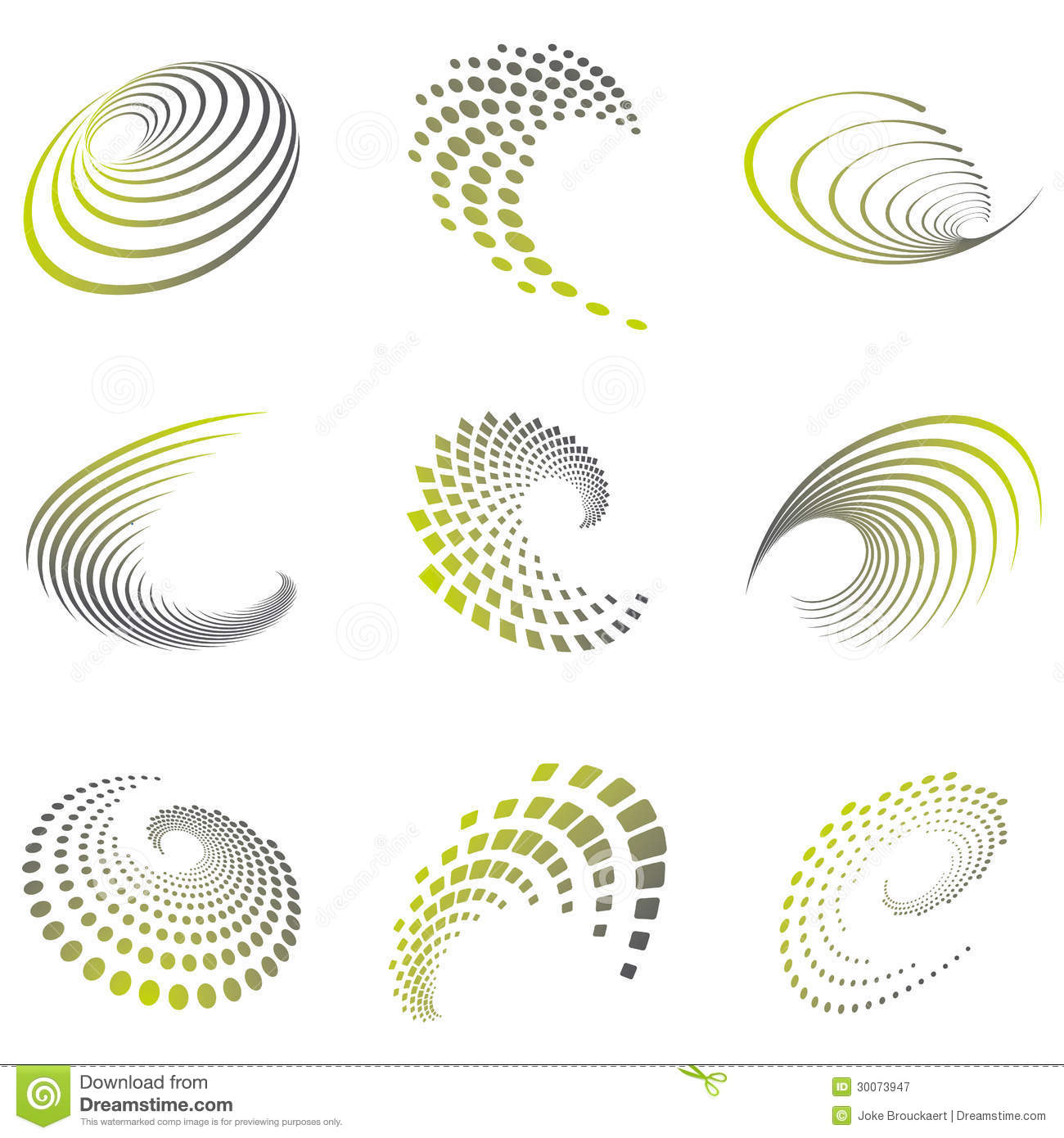 Royalty Free Stock Photography Set Nine Abstract Wave Icons Geometric Shapes Grey Green Shades Can Be Used Party Business Technology Sports Motion Promotion Etc Image30073947 on Green Spiral Symbol