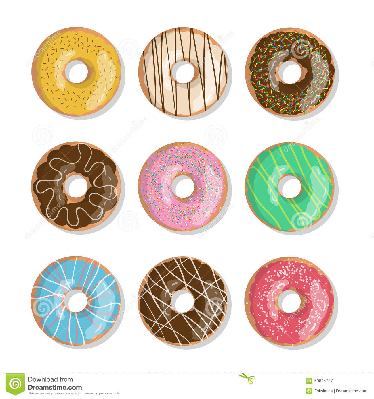 Cartoon Doughnut Factory: Set Of Nine Bright Tasty Vector Donuts Illustration