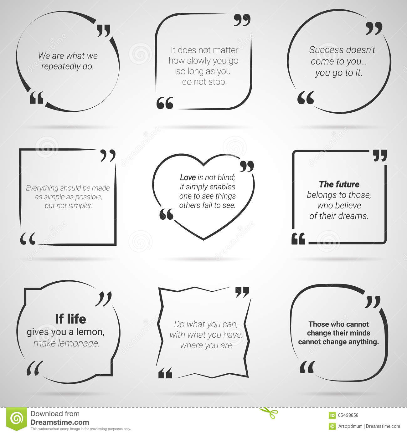 Set Of Nine Citations In Tex Boxes, Frames And Quotes. Vector ...