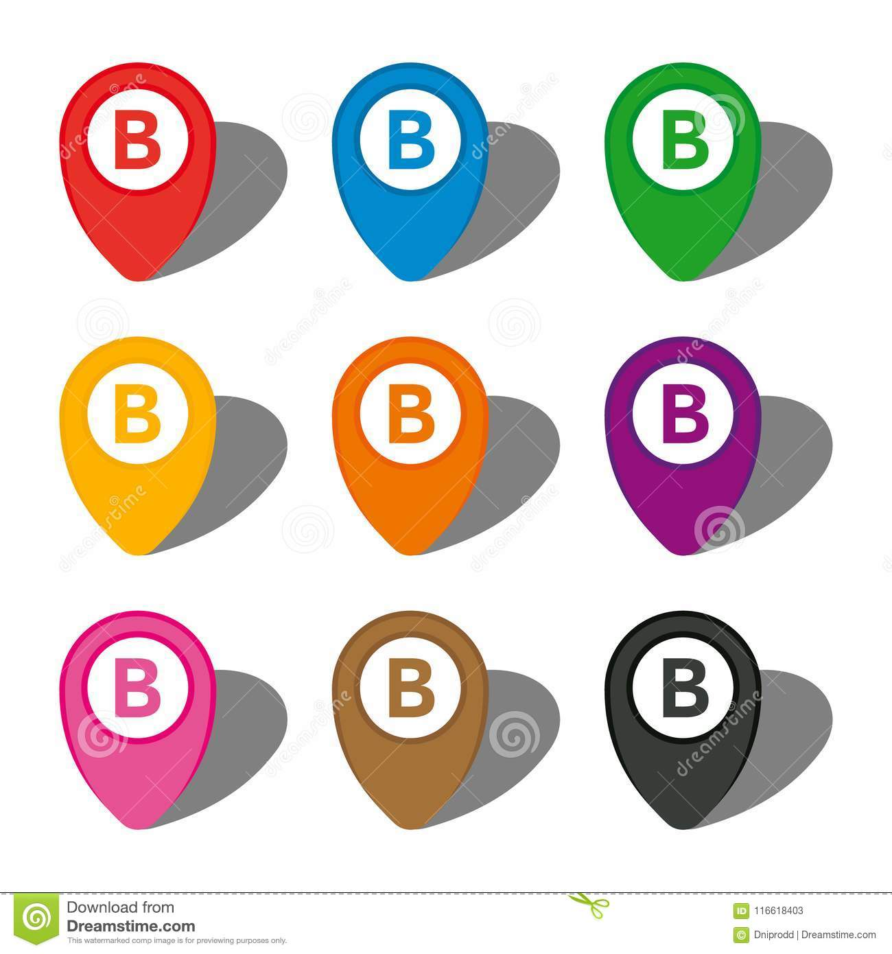 Set Of Nine Colorful Map Pointers With Point B Sign In White