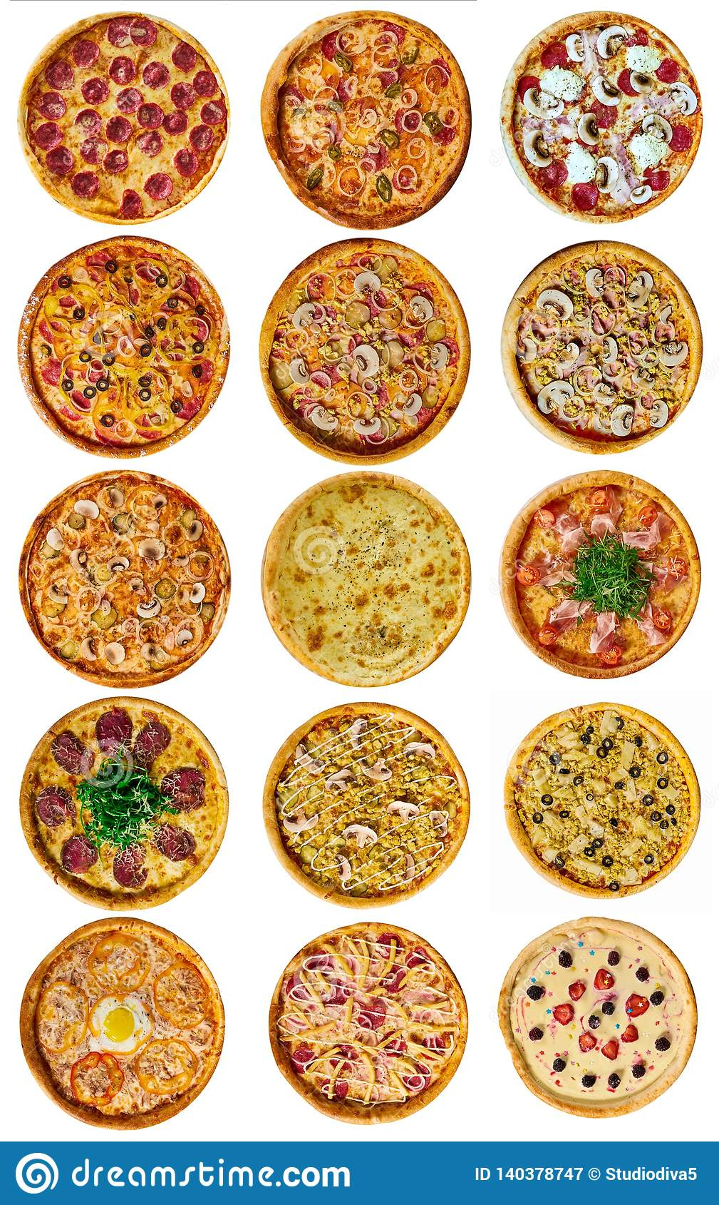A set of nine different pizza for the menu, with cheese, with ham, with salami, with mushrooms, with holopina with tomatoes on