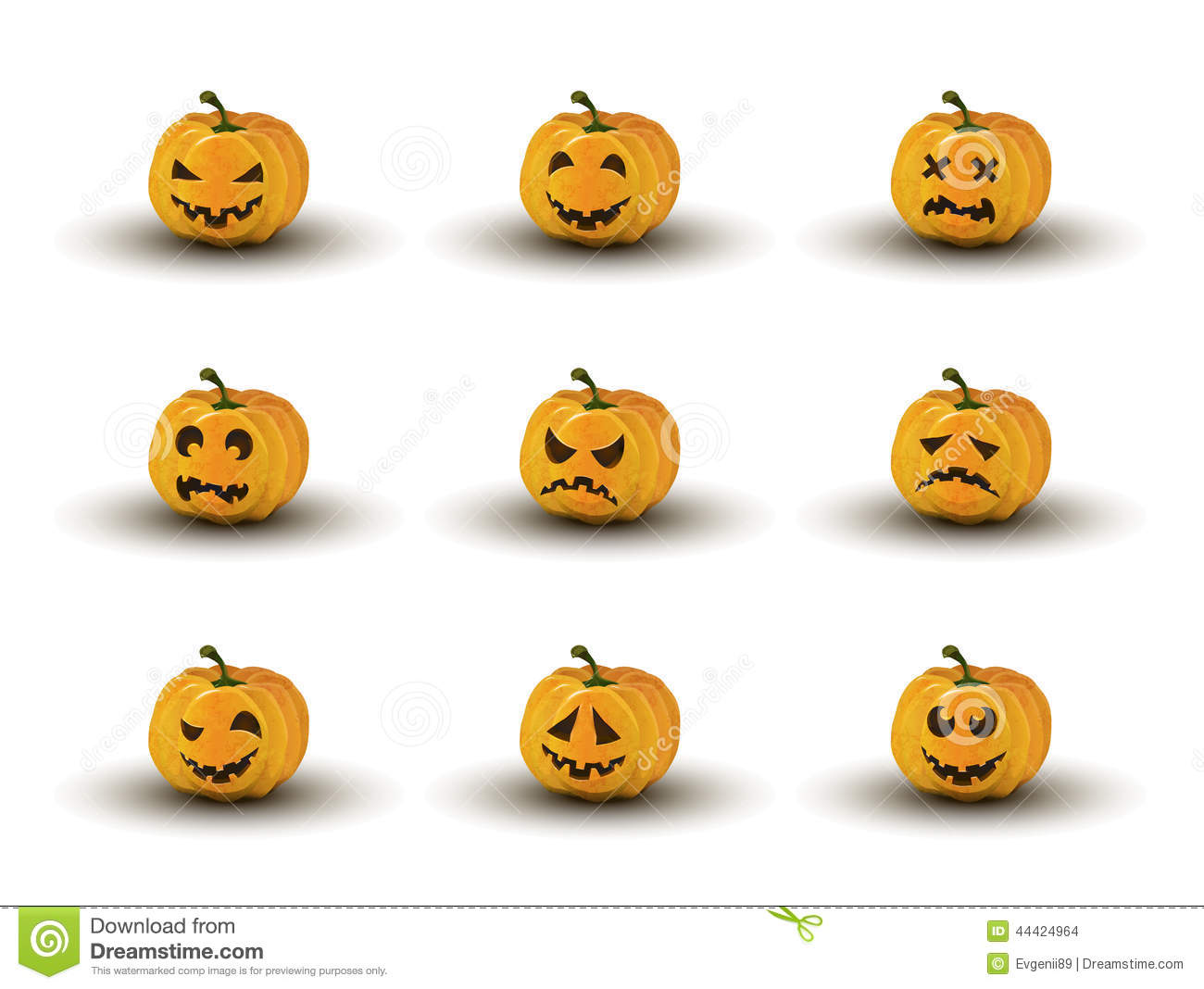 Set of nine halloween pumpkin faces with emotions stock for Surprised pumpkin face