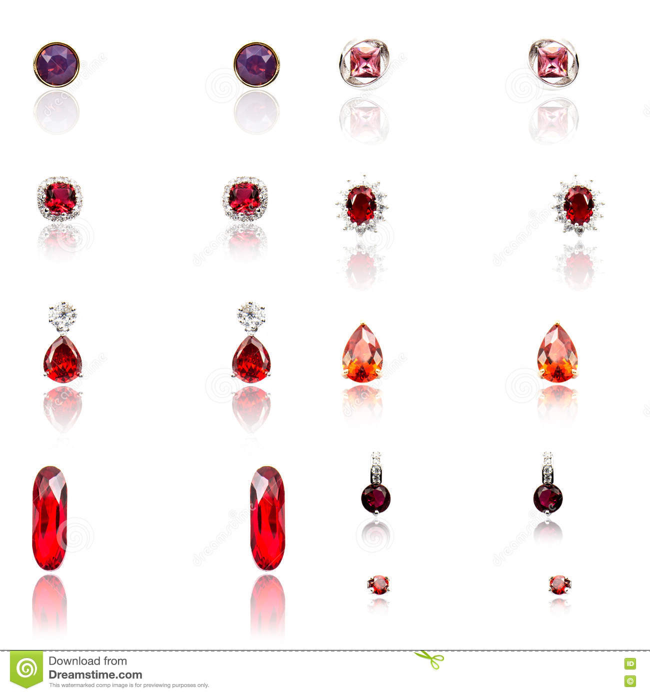 Set of the nine pairs of diamond earrings