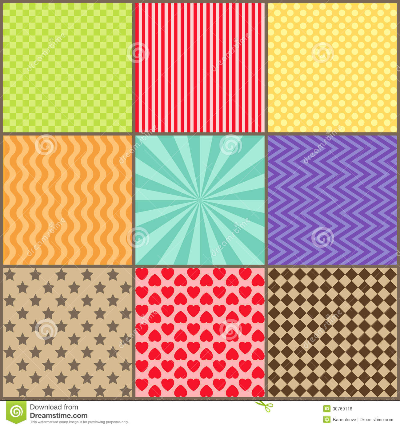 set of nine simple geometric patterns royalty free stock