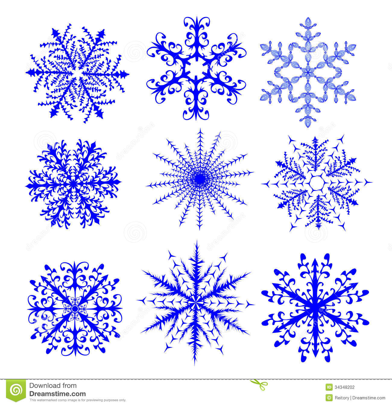Set Of Nine Snowflakes Stock Photography - Image: 34348202