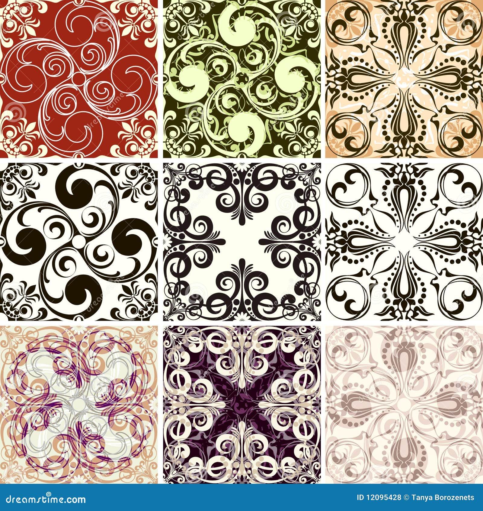 Set of nine textures