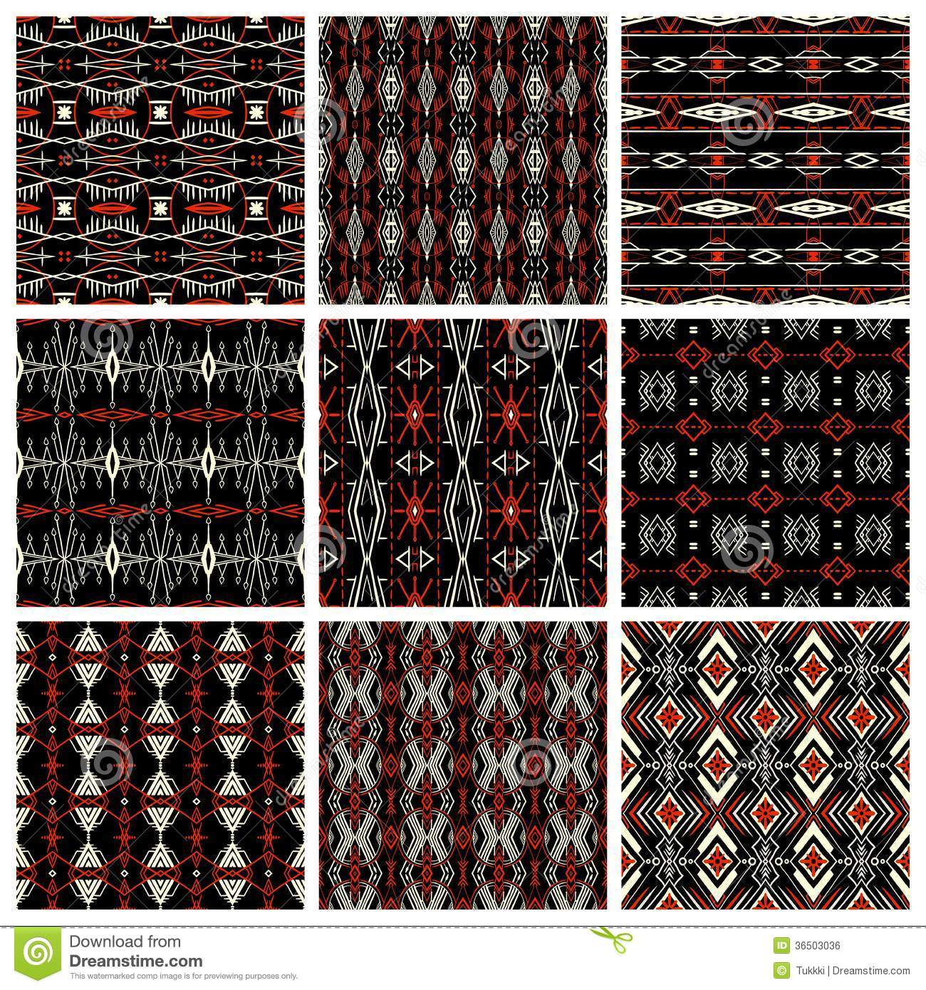 Set Of Nine Tribal Patterns Royalty Free Stock Image - Image: 36503036