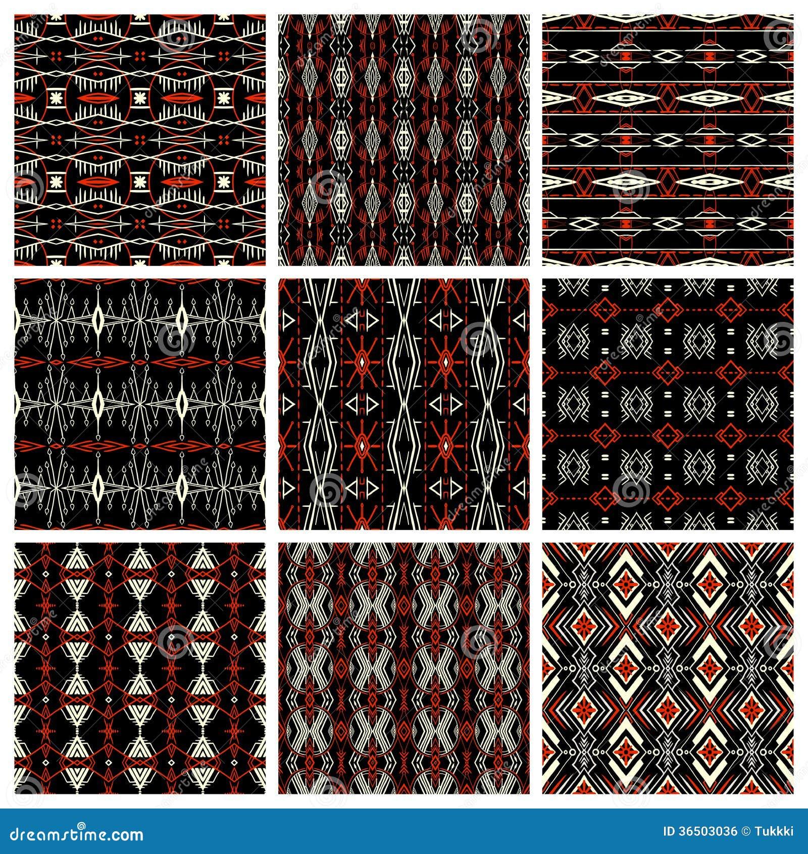 Set Of Nine Tribal Patterns Royalty Free Stock Image ...