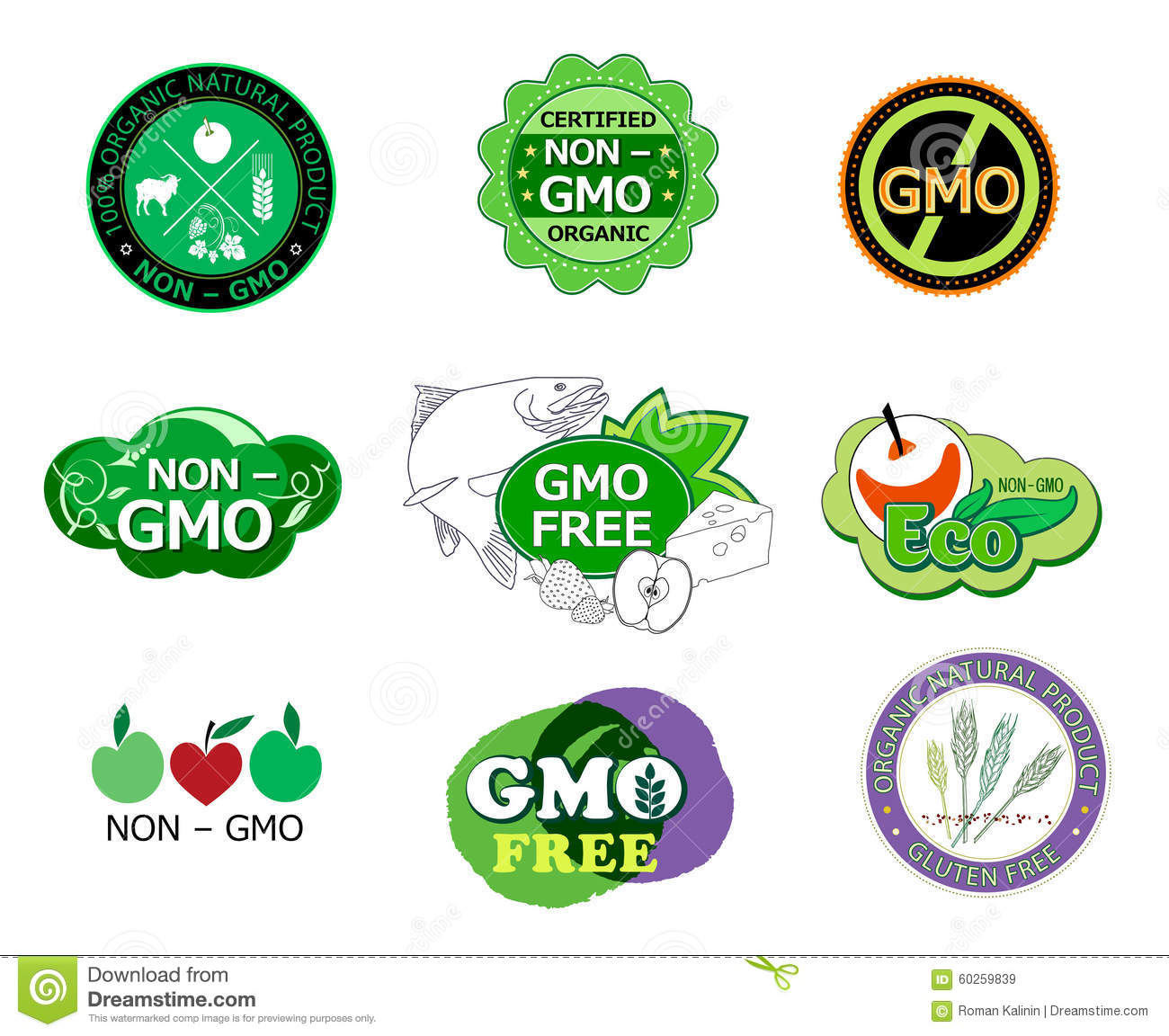 Set of non gmo icons and logo stock vector illustration of set of non gmo icons and logo buycottarizona Images
