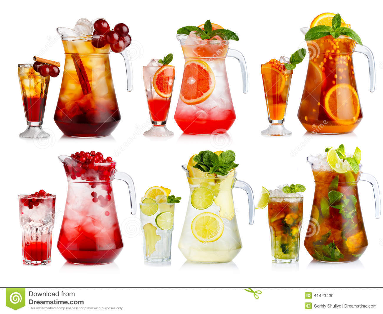 Set of nonalcoholic cocktail in jugs and glasses with fruits and stock photo image 41423430 - De scandinavische cocktail ...