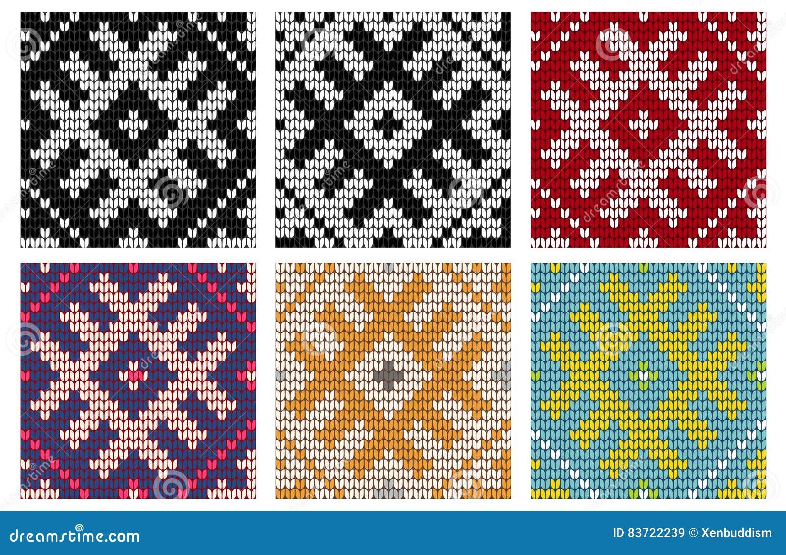 Set Of North Knitting Seamless Patterns Stock Illustration