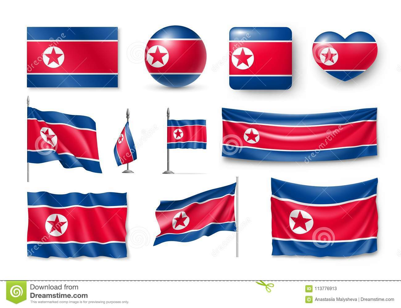 Set North Korea Flags Banners Banners Symbols Flat Icon Stock