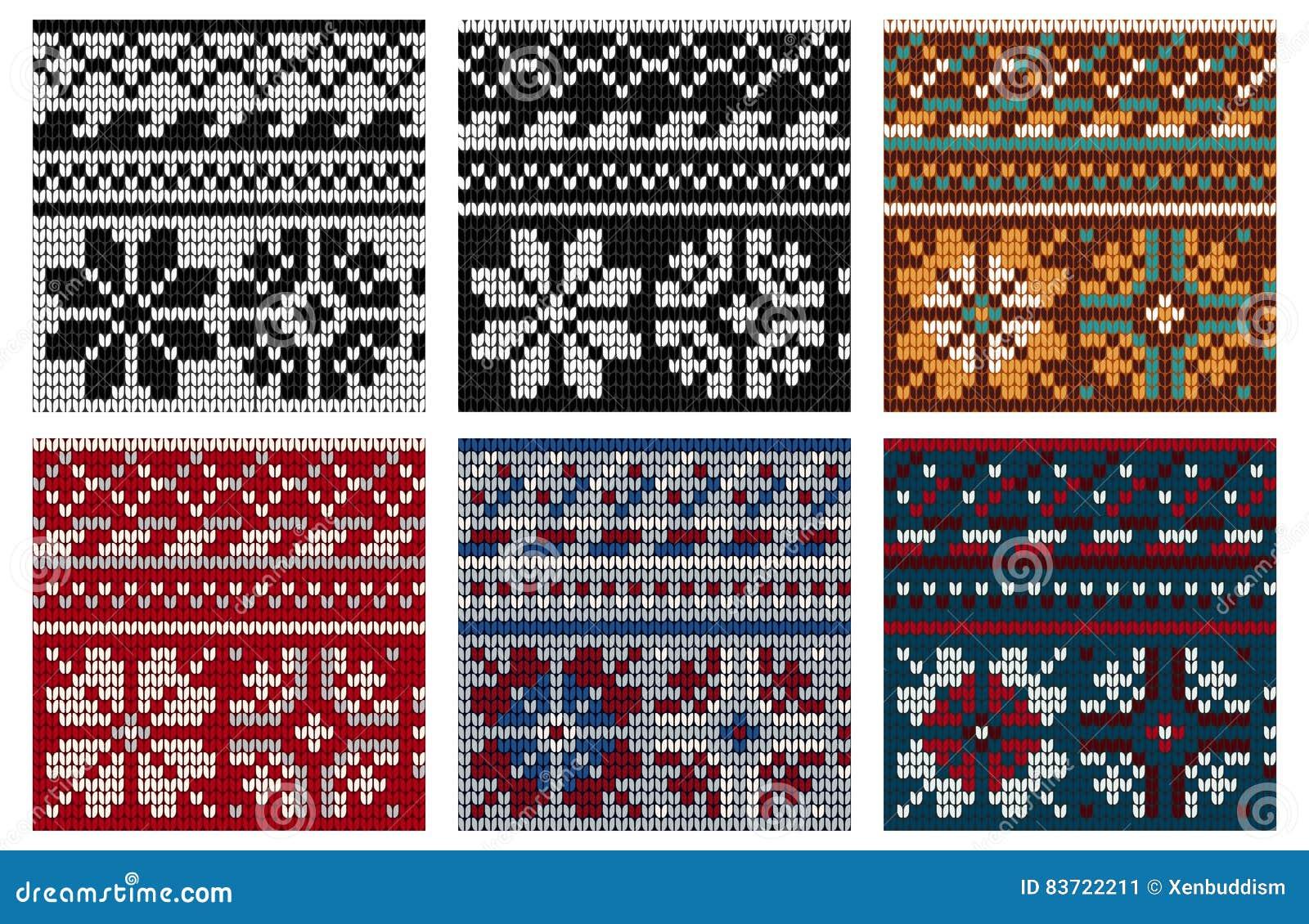 Set Of Norwegian Knitting Seamless Pattern Stock Illustration