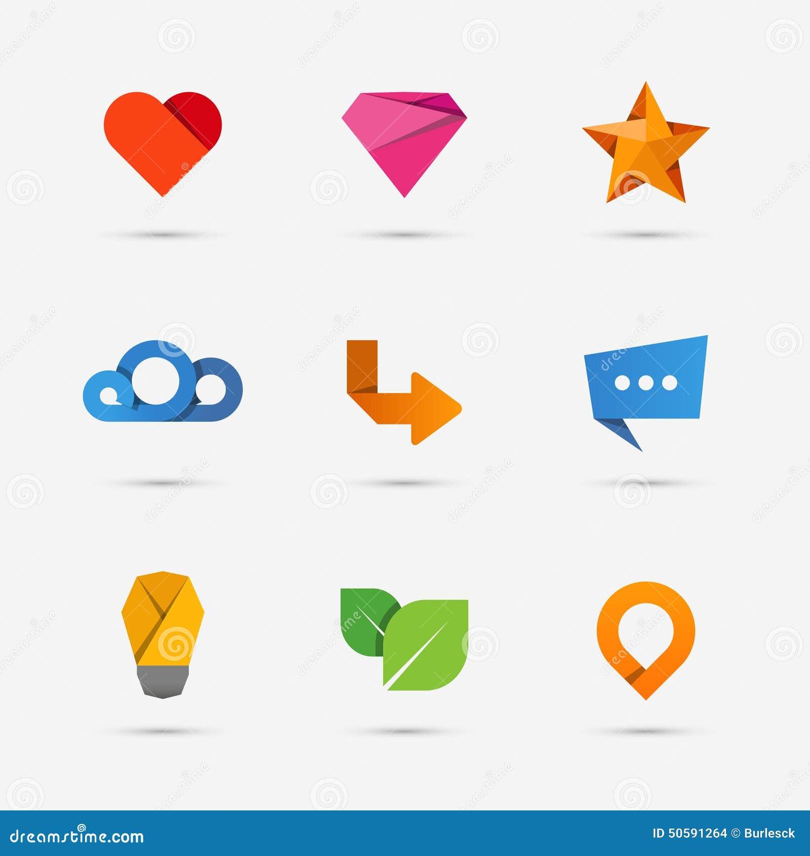 Set nowożytne mieszkanie papieru ikony lub logów elementy