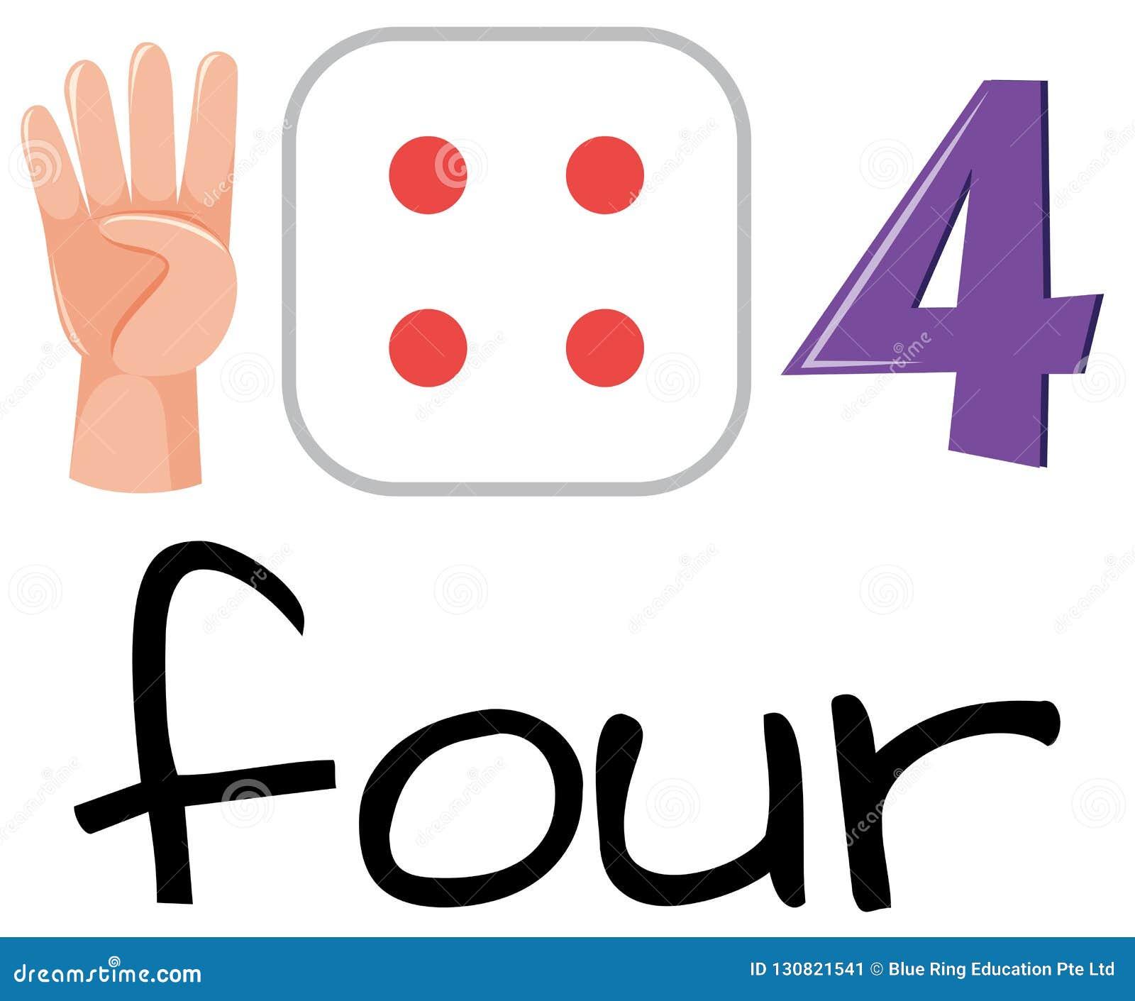 Set of number four symbol