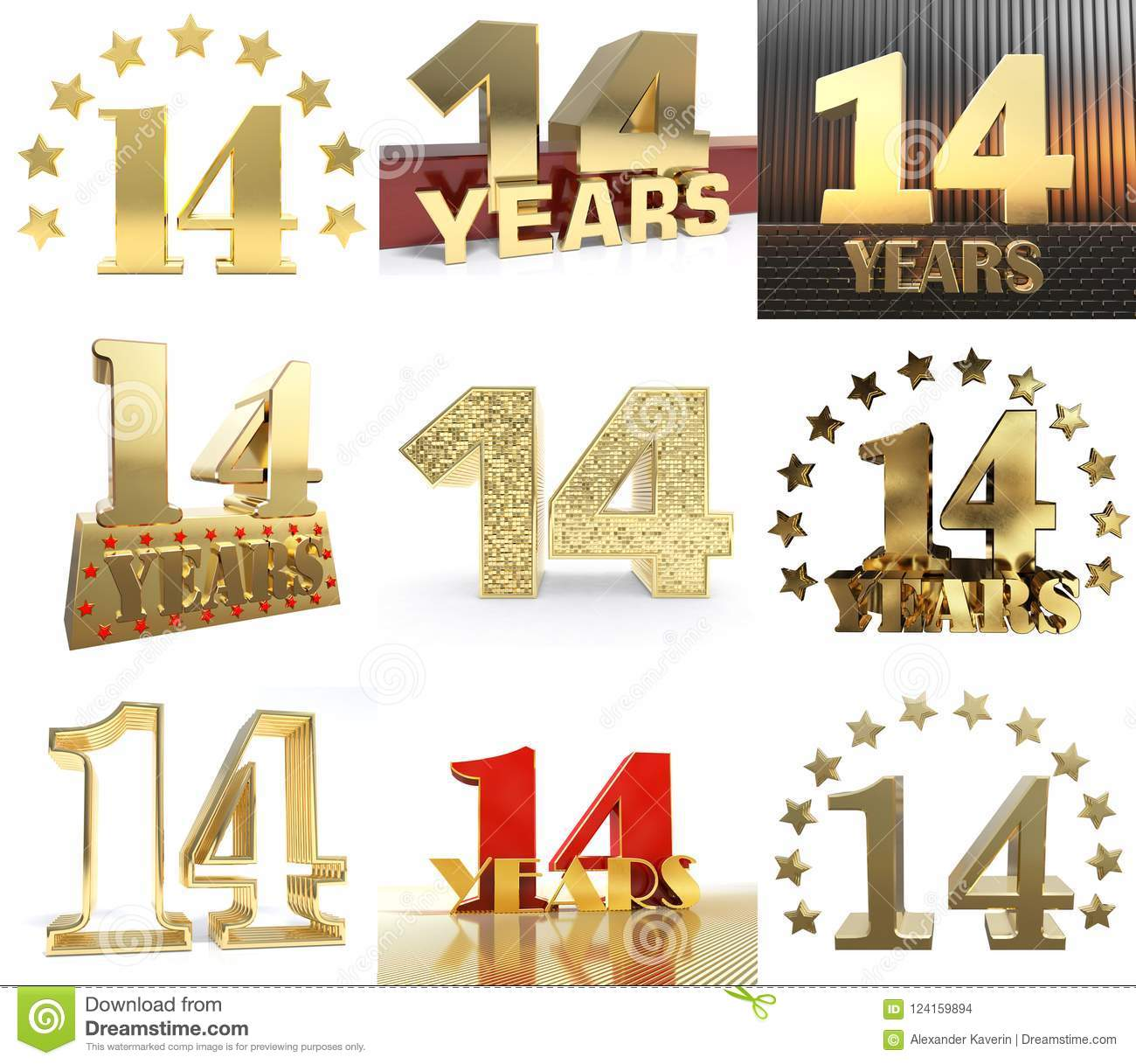 Set of number fourteen year 14 year celebration design. Anniversary golden number template elements for your birthday party. 3D