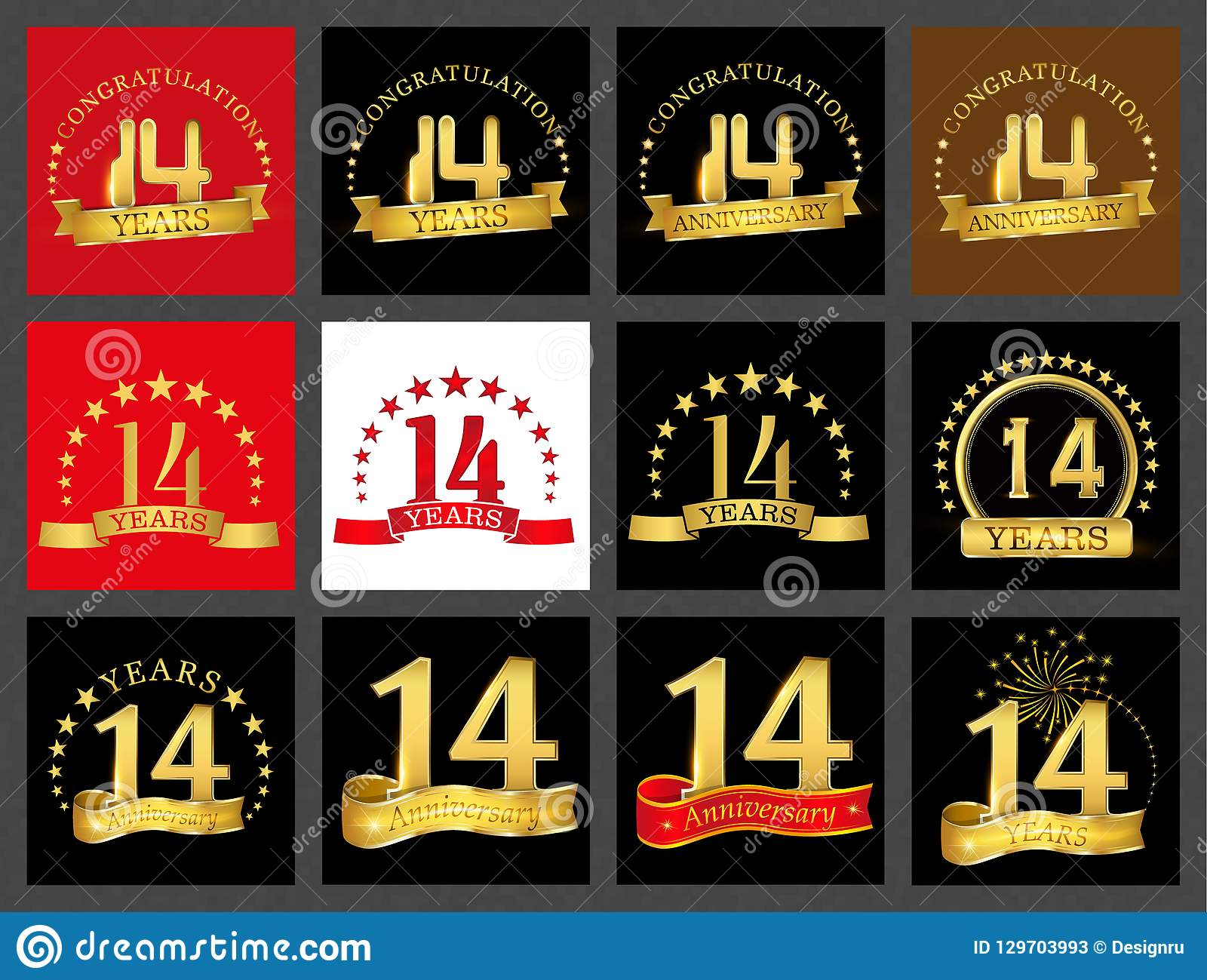 Set of number fourteen 14 years celebration design. Anniversary golden number template elements for your birthday party..