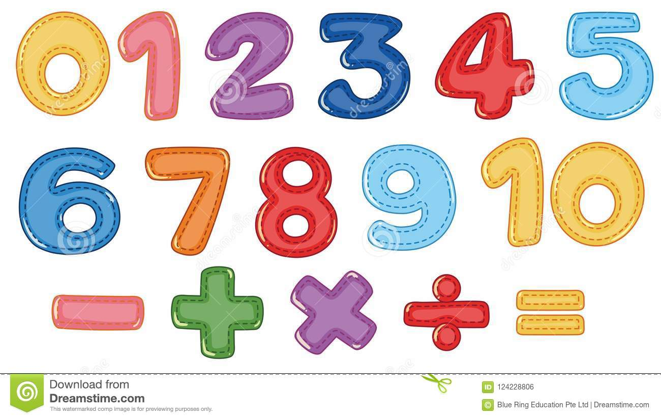 A Set Of Number And Math Symbols Stock Vector Illustration Of