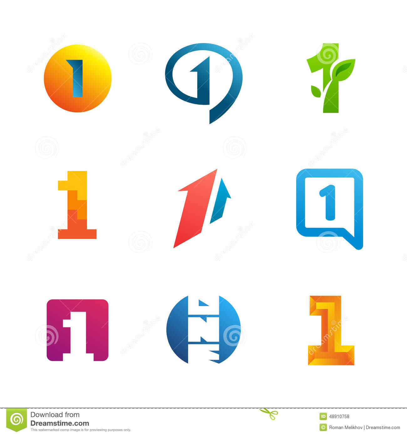 Set Of Number One 1 Logo Icon Design Template Elements